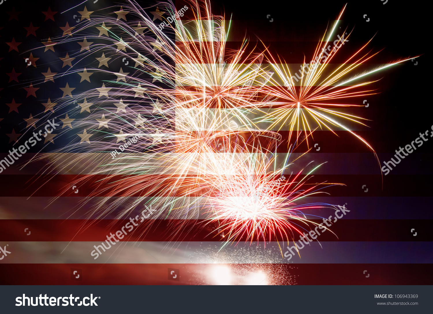 United States Of America Usa Flag With Fireworks ...