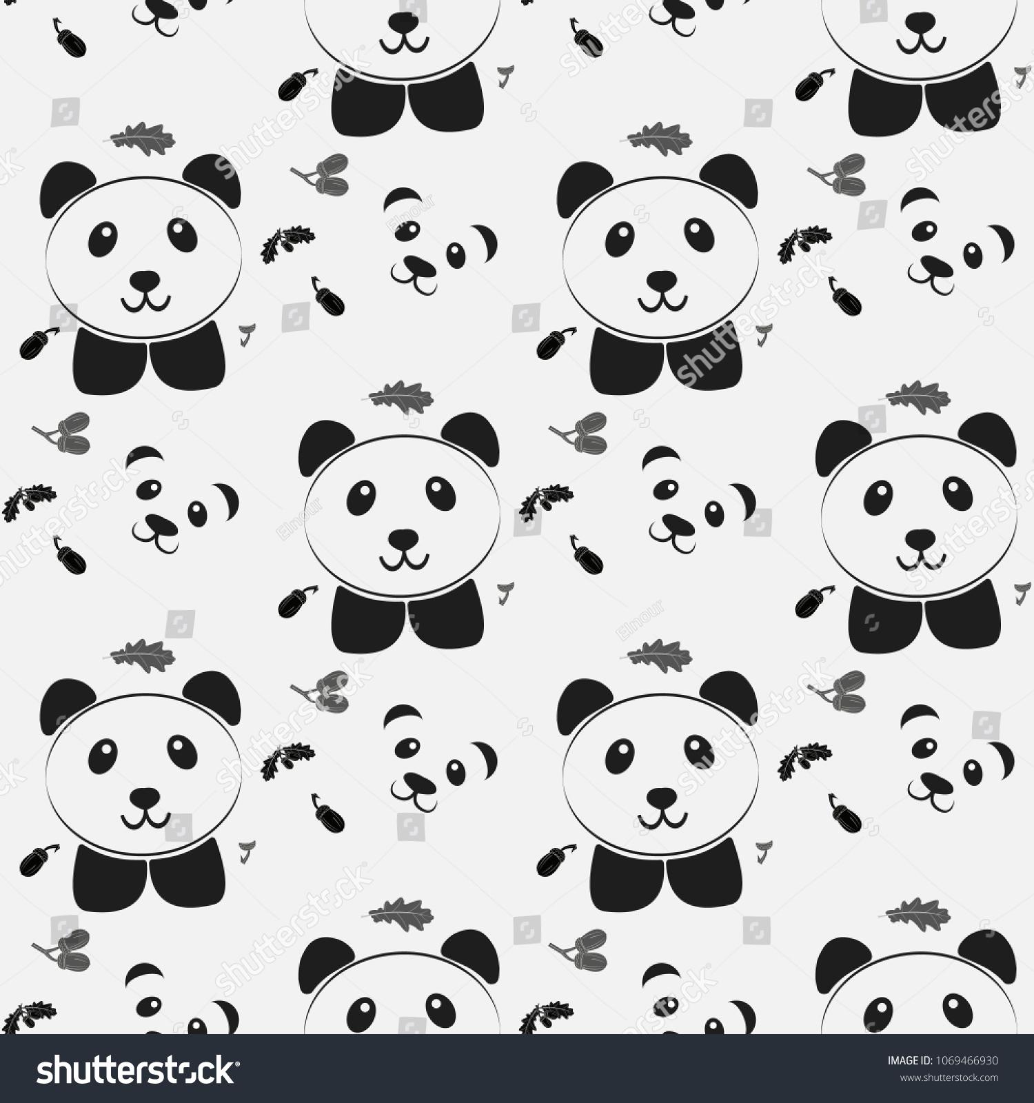 Cute Panda Face Seamless Wallpaper Seamless Stock Vector Royalty