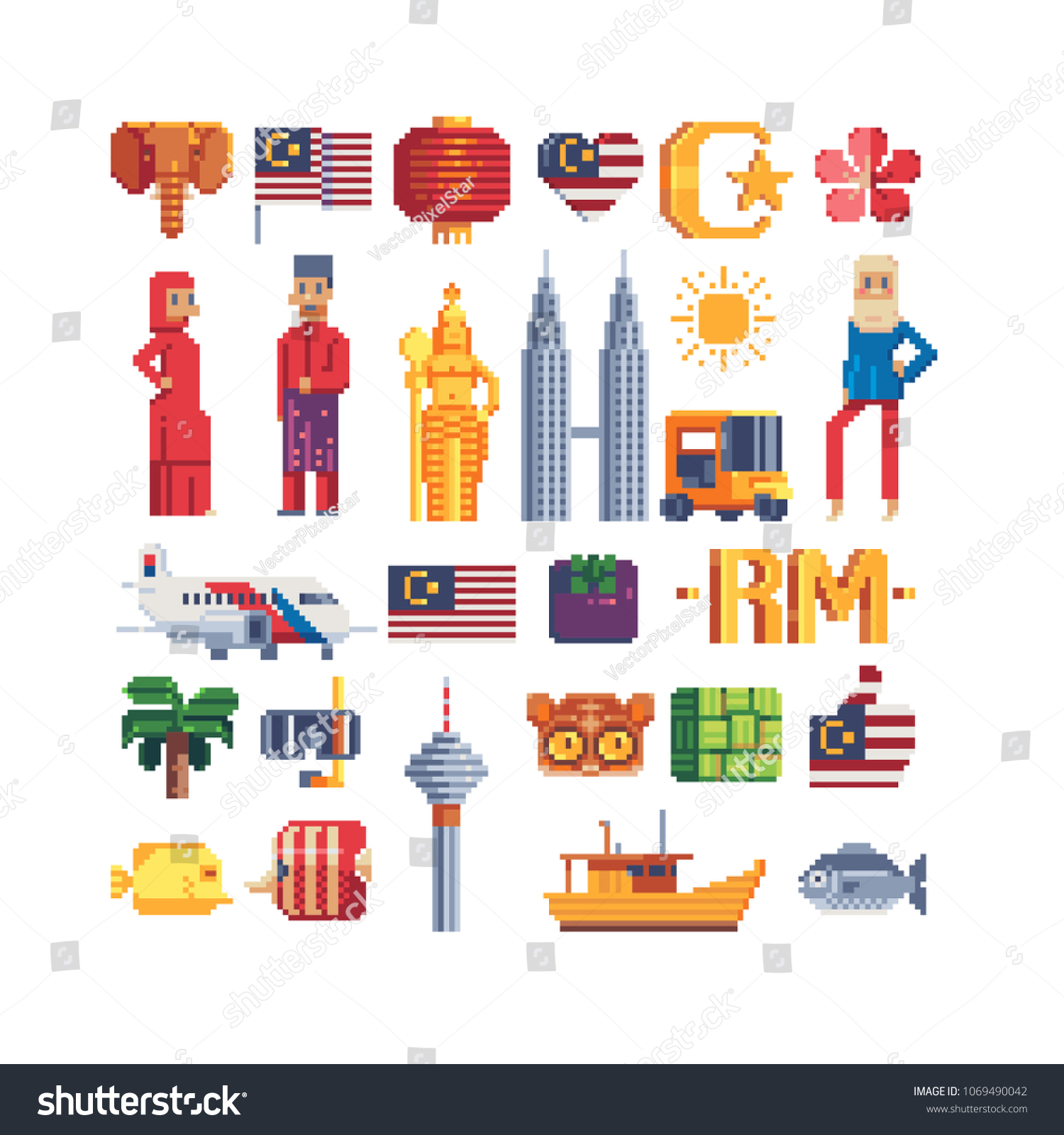 Travel To Malaysia Pixel Art 80S Style Icons Set Of
