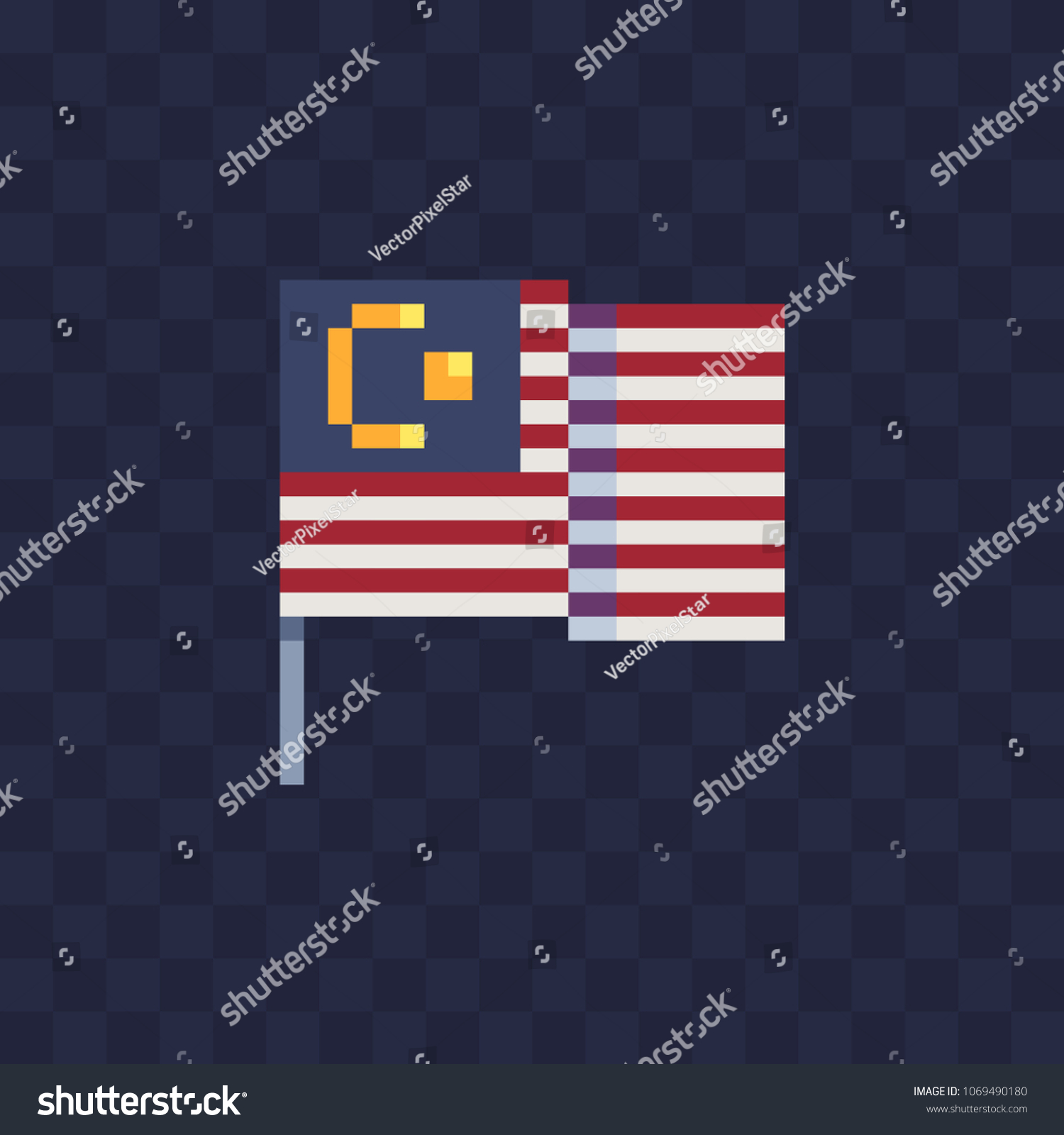 Malaysia Flag National Symbol Country Pixel Stock Vector Royalty