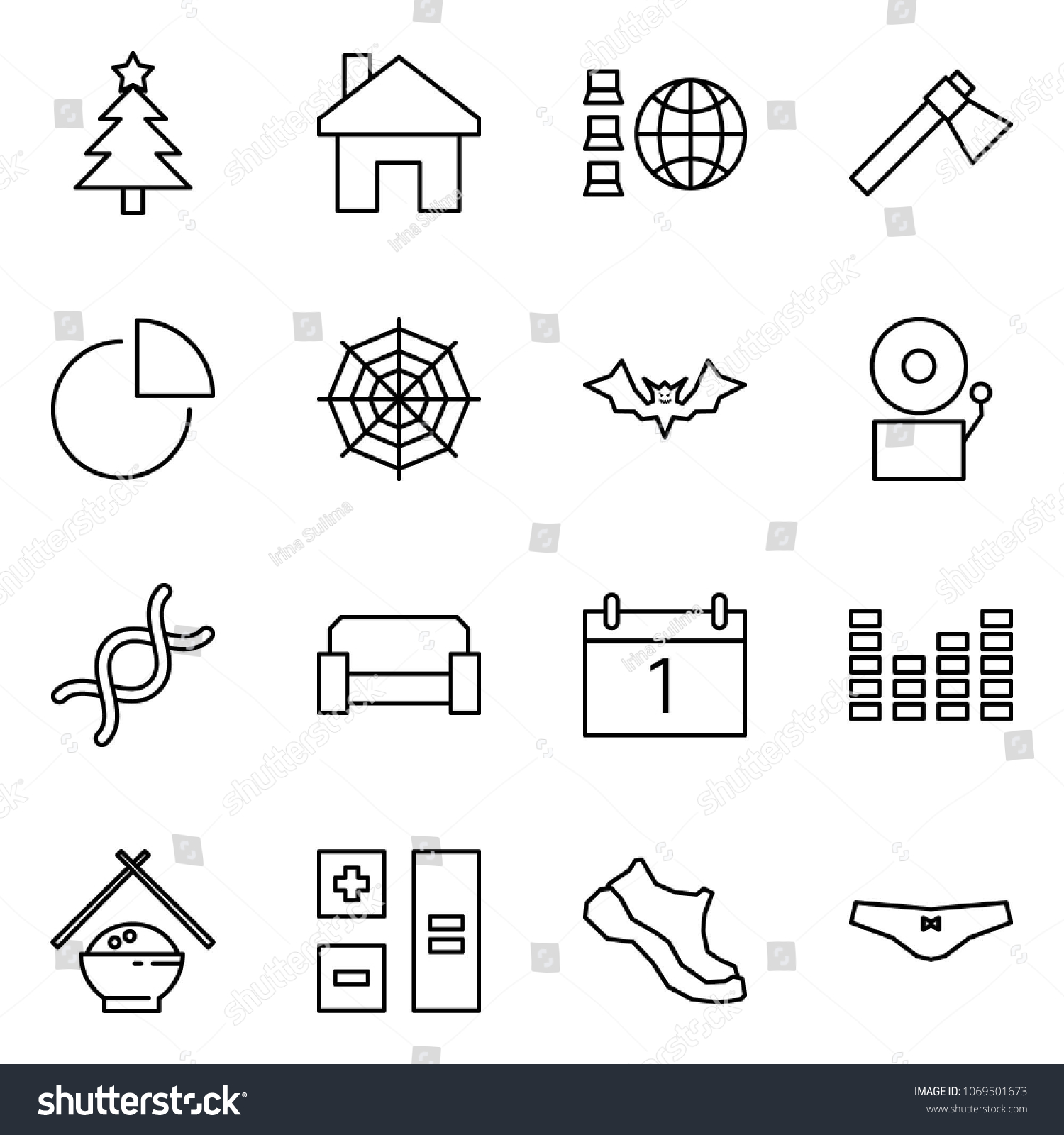 flat vector icon set - christmas tree vector, home, network, axe, diagram,  web, bat, bell, dna, sofa, calendar, equalizer, rice, calculator, sneakers,