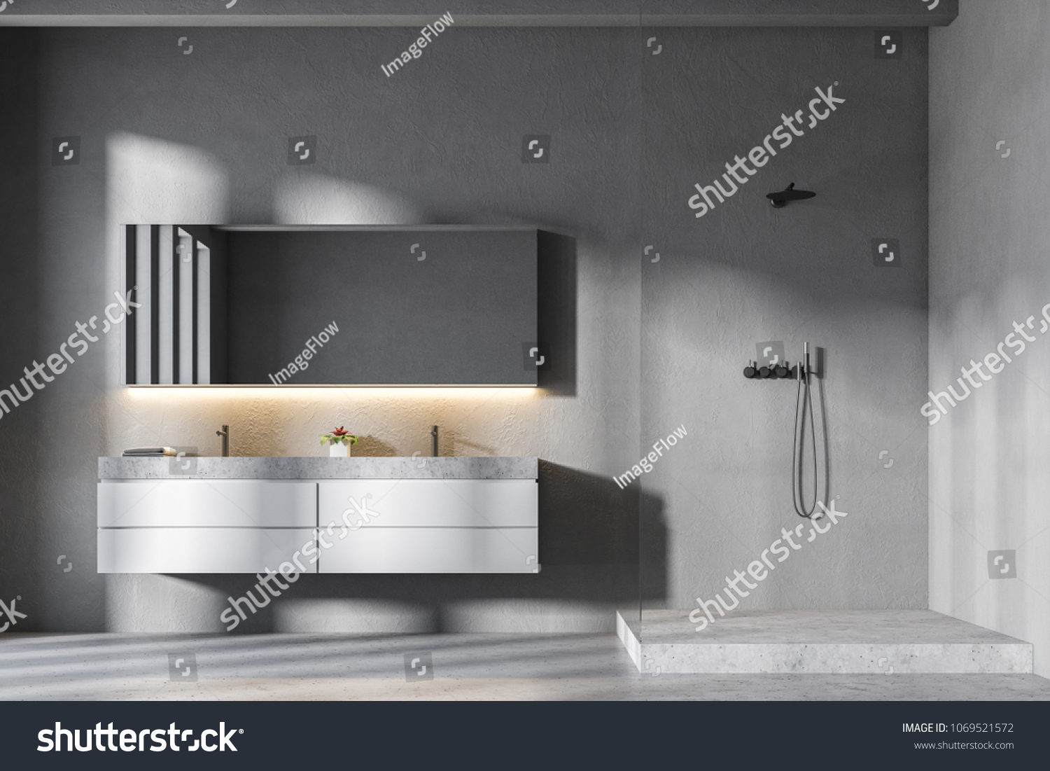 Gray Bathroom Interior With A Concrete Floor, A Shower Stall And A Double  Sink With