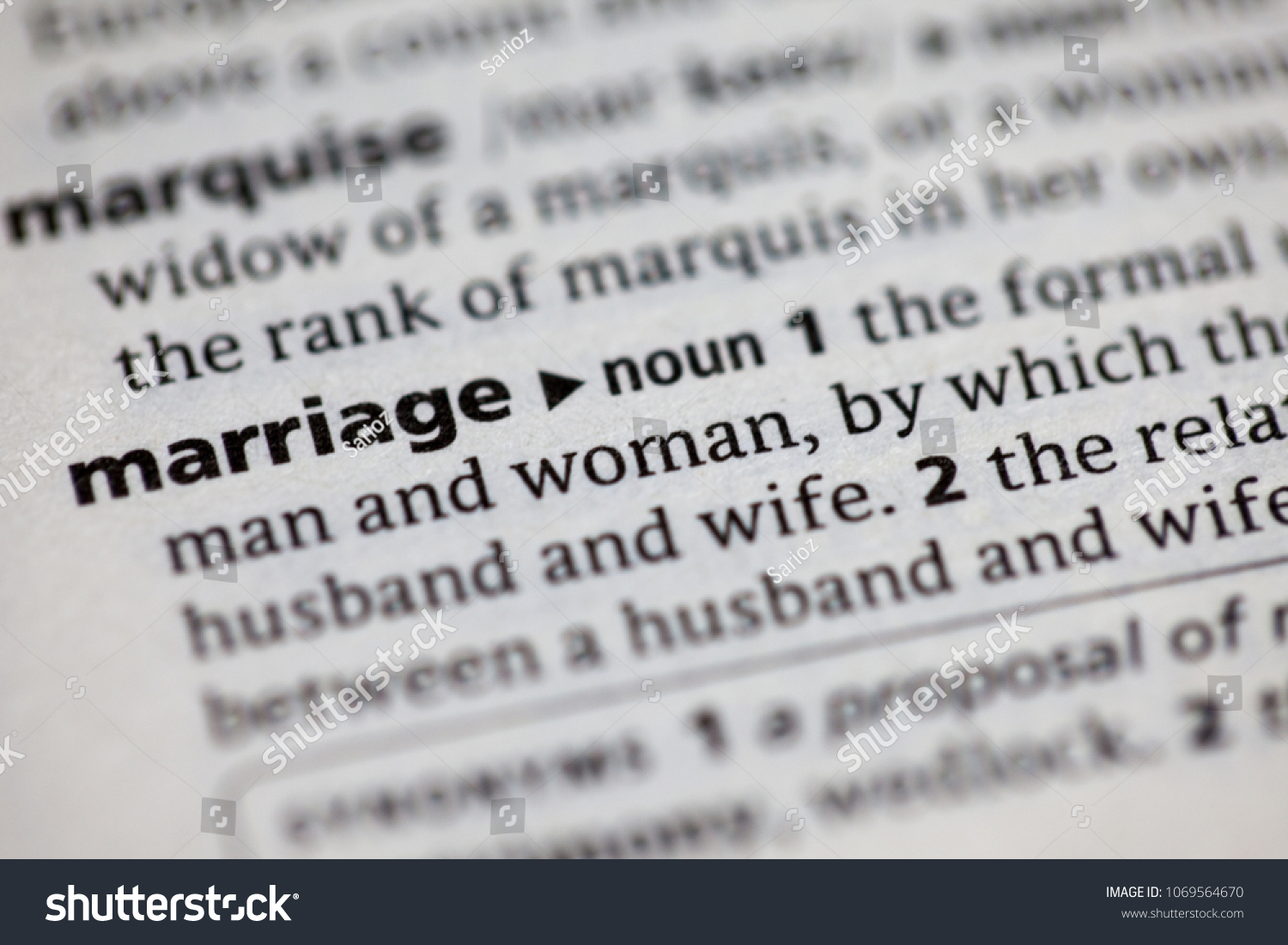 Close Dictionary Definition Marriage Stock Photo Edit Now 1069564670