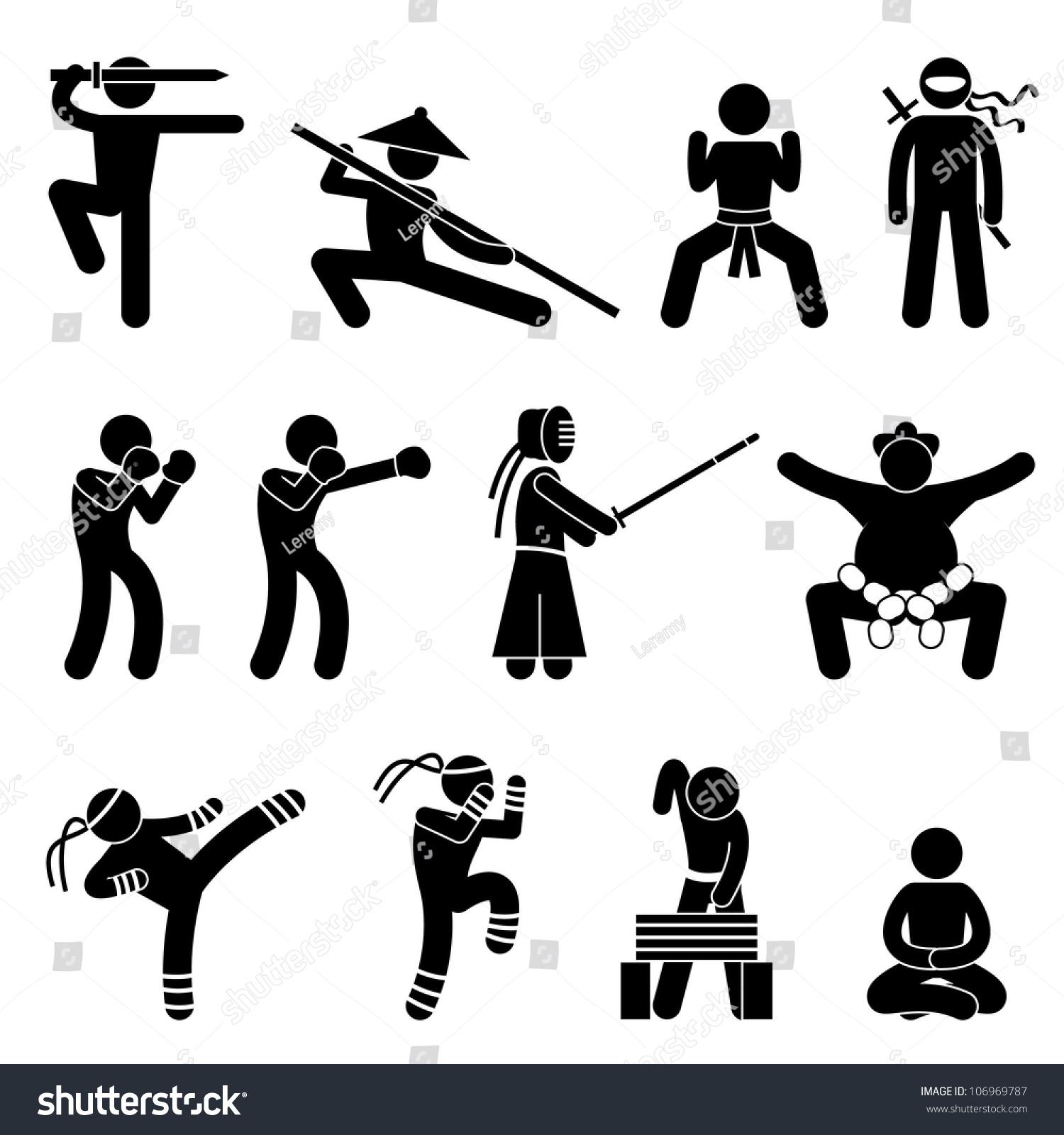Royalty Free Stock Illustration Of Kung Fu Martial Arts Self Defense