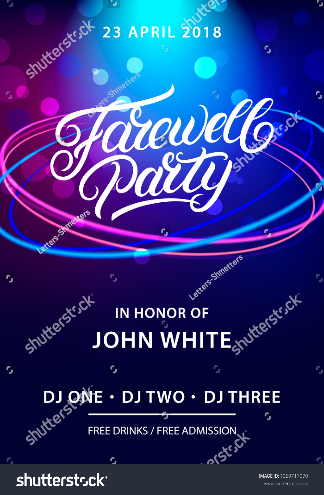 Farewell Party Hand Written Lettering Invitation Stock Vector