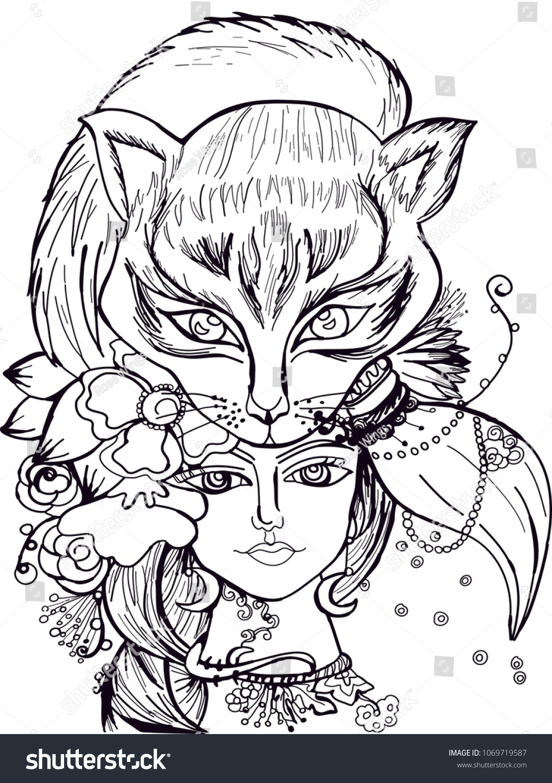 - Girl Animal Flowers Illustration Coloring Pages Stock Vector