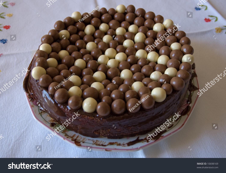Homemade Chocolate Cake Brown White Chocolate Stock Photo ...