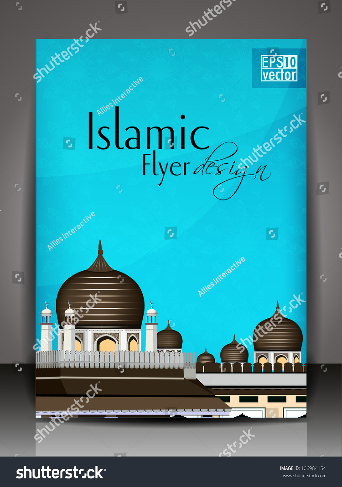 islamic brochure design - islamic flyer brochure or cover design with mosque and