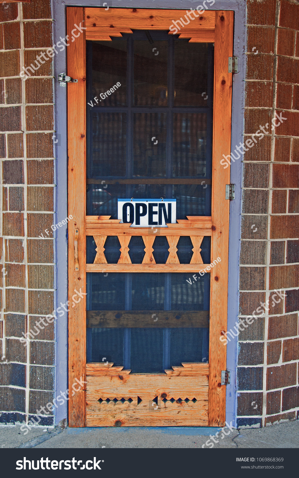 Open Sign On Old Fashioned Wood Stock Photo Edit Now 1069868369