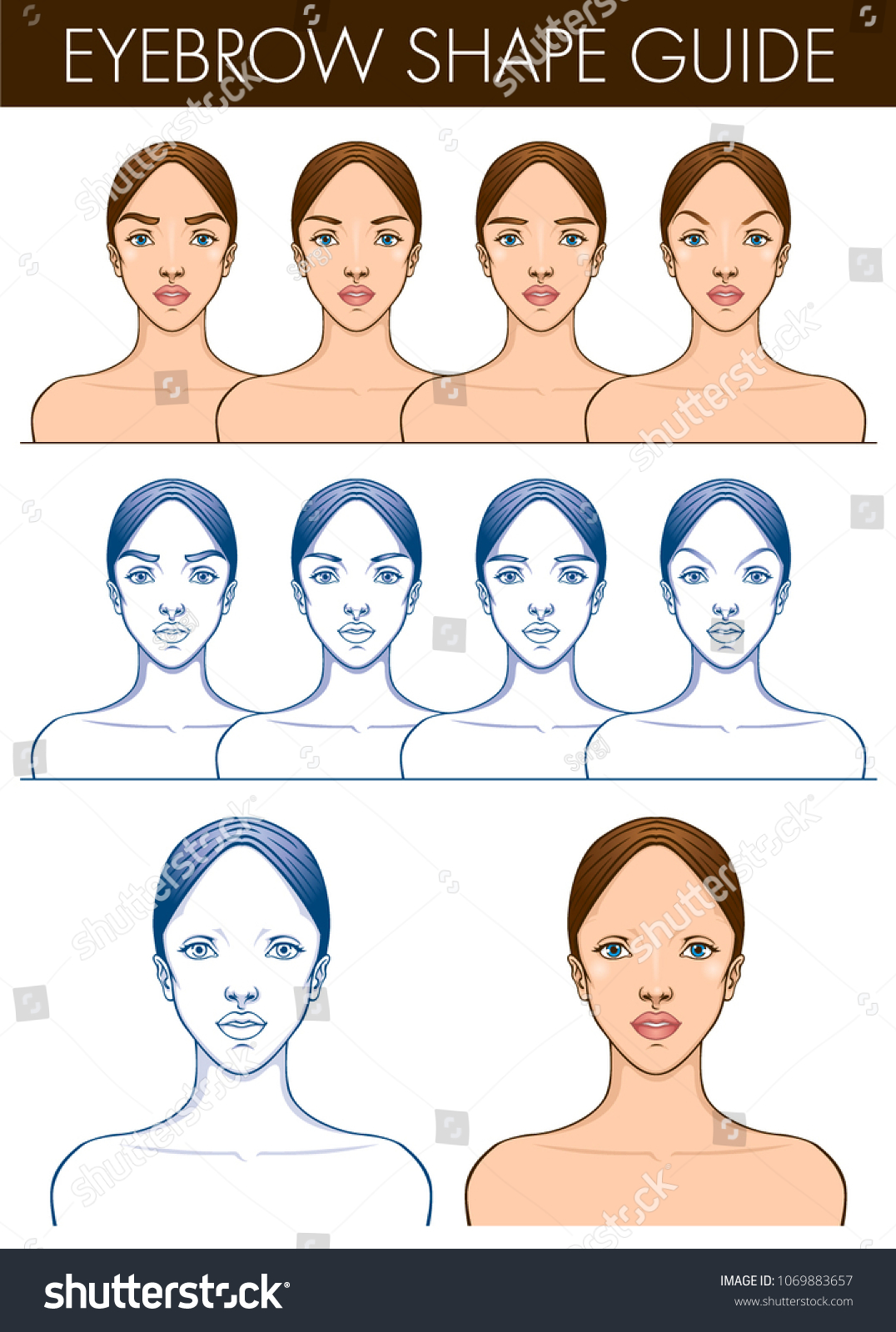 Eyebrow shape guide template female blank stock vector royalty free eyebrow shape guide template of female blank face vector illustration of pretty young woman maxwellsz