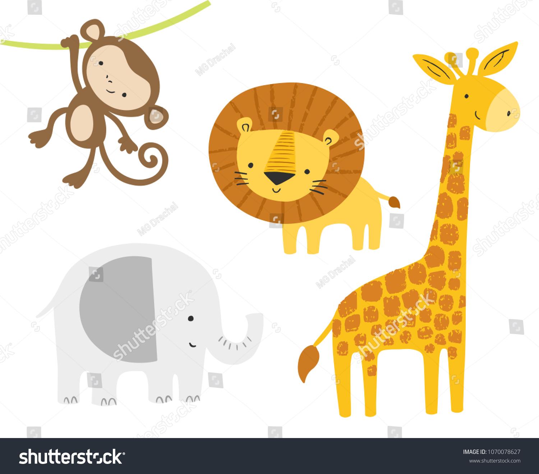 Cute Jungle Animals Set Vector Cartoon Stock Vector (Royalty Free ...