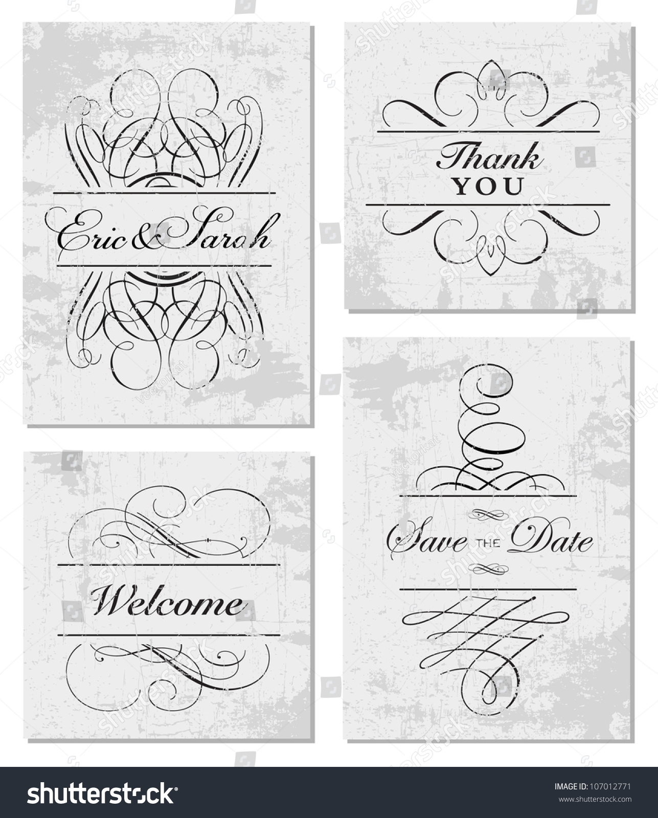 Vector grunge swirl frame set easy stock vector 107012771 shutterstock vector grunge swirl frame set easy to edit perfect for invitations or announcements stopboris Images