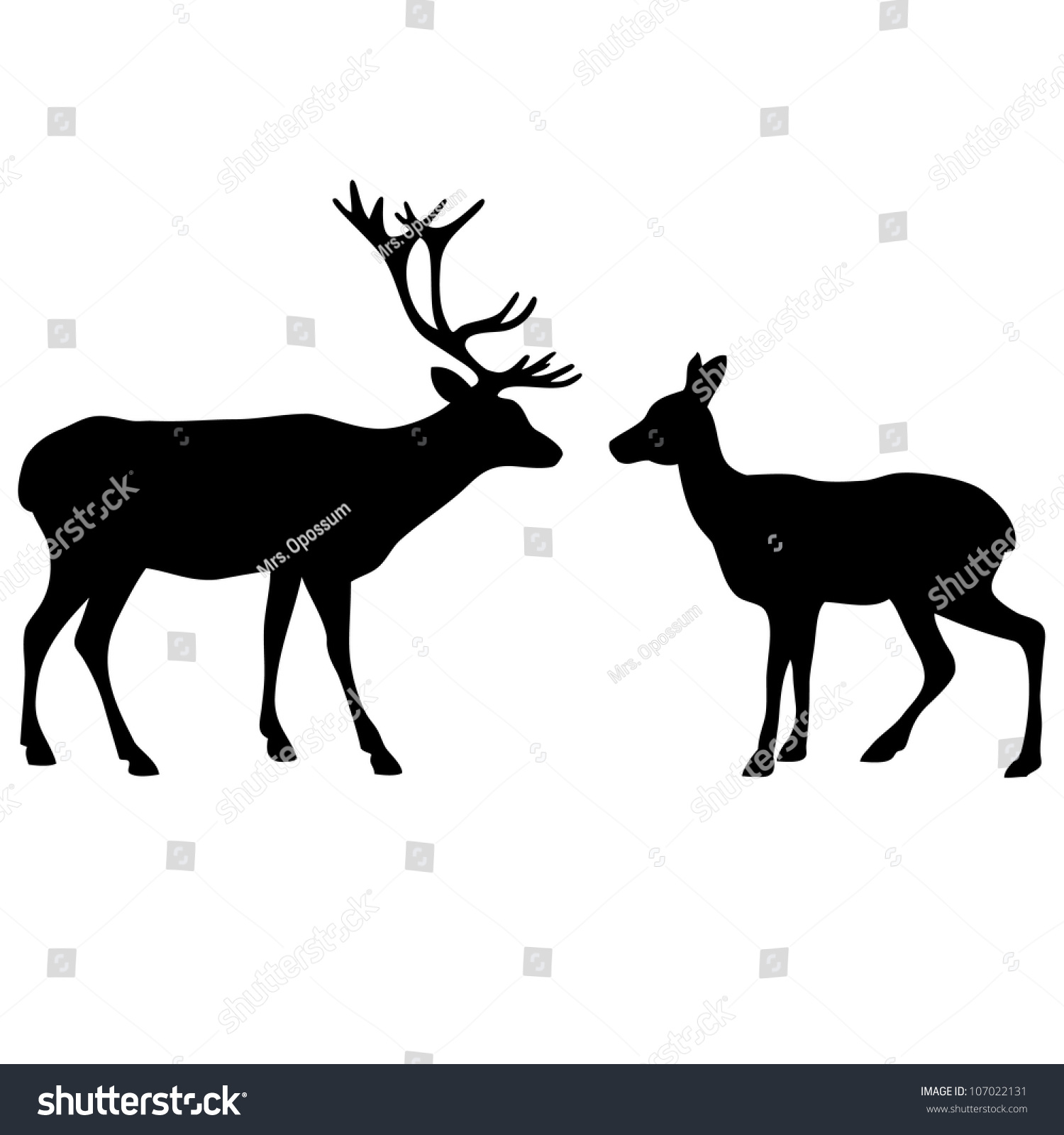 two deer love silhouettes stock vector 107022131 shutterstock rh shutterstock com Deer Vector Clip Art Elk Vector