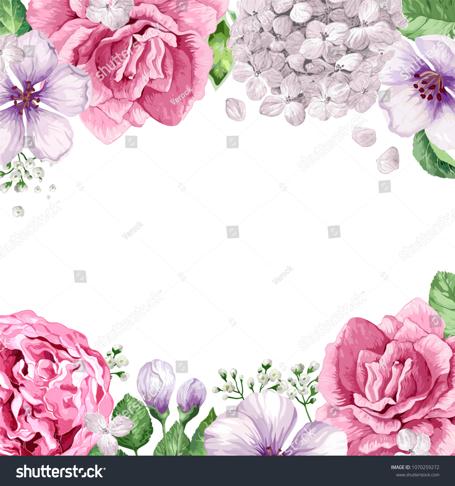 Floral Watercolor Background Isolated On White Stock Vector