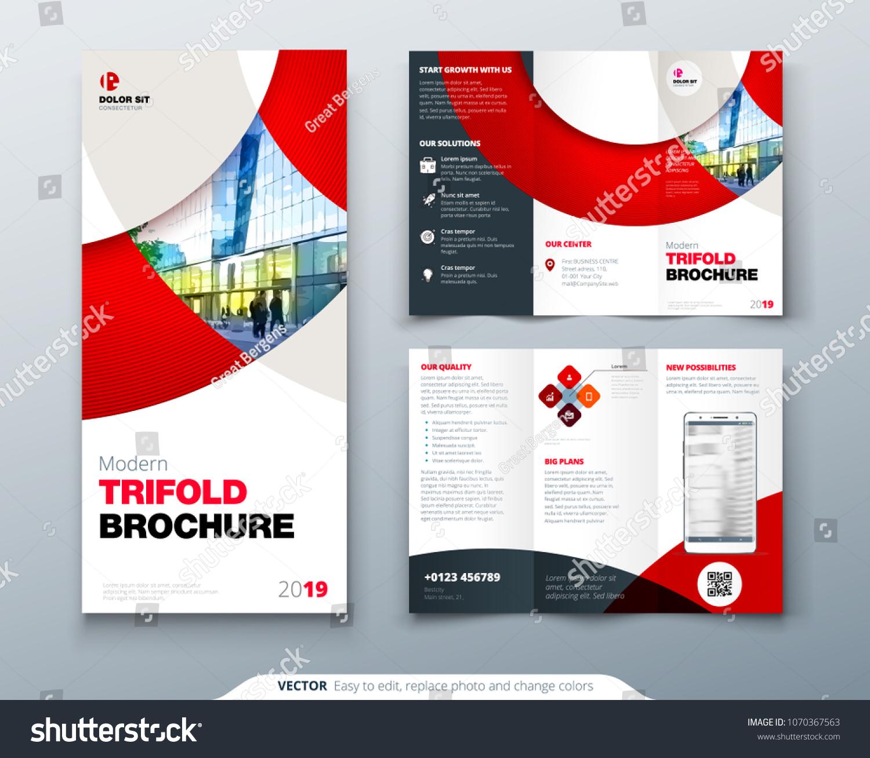 tri fold brochure design circle corporate のベクター画像素材