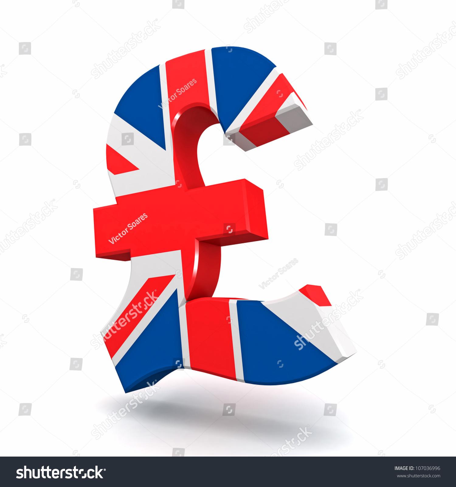 Three Dimensional Render British Pound Symbol Stock Illustration