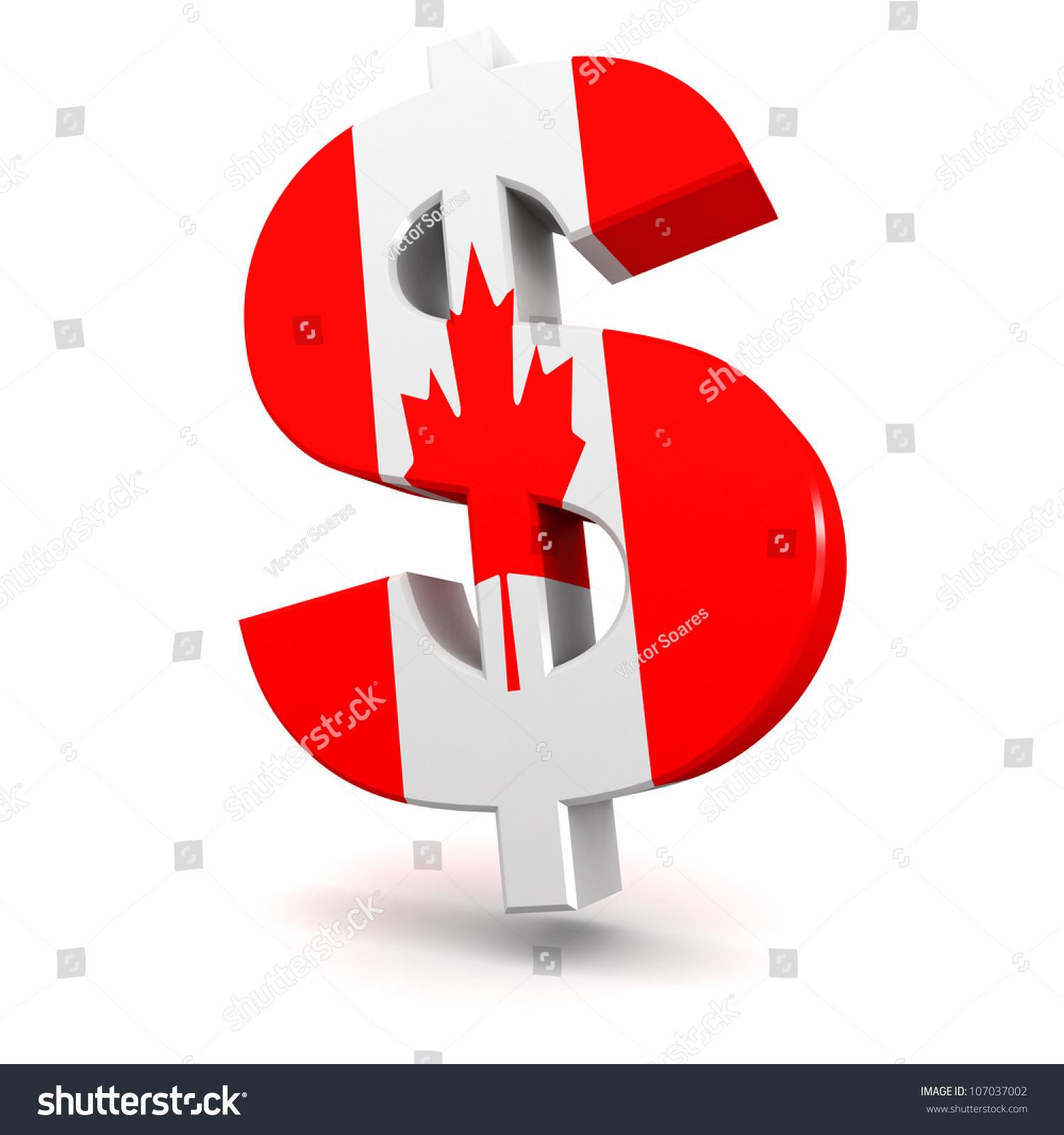 Three Dimensional Render Canadian Dollar Symbol Stock Illustration
