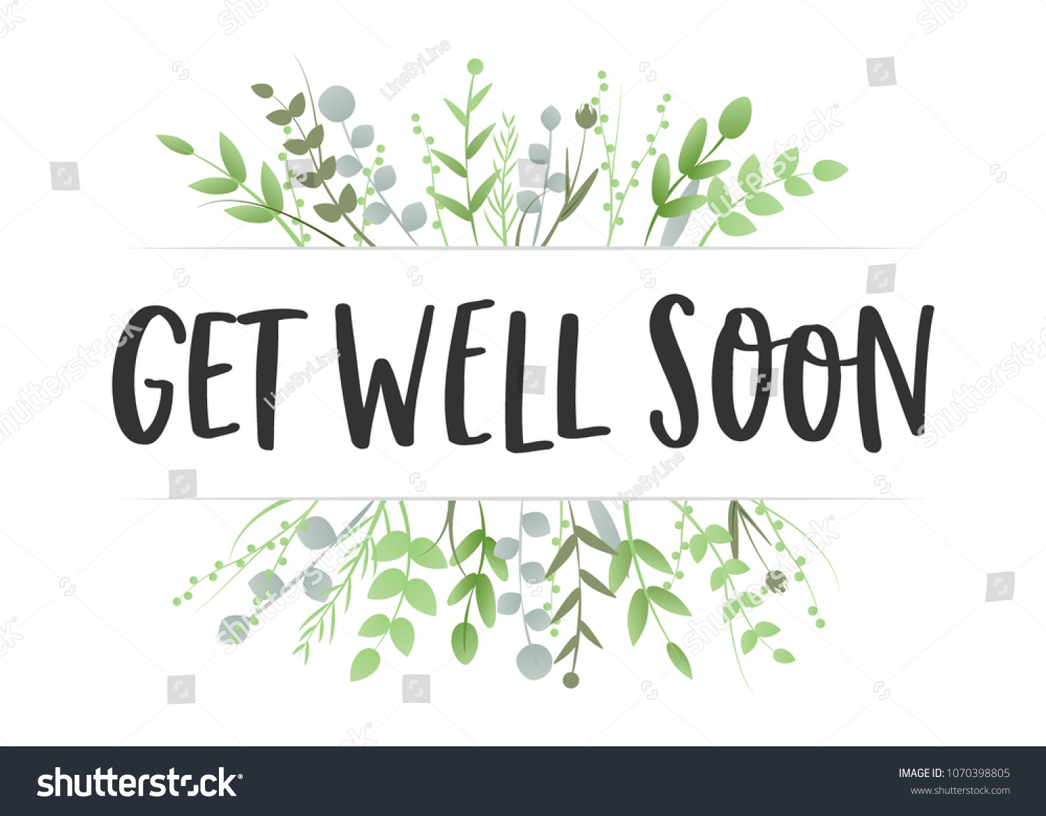 Get Well Soon Floral Leaves Trendy Stock Vector Royalty Free