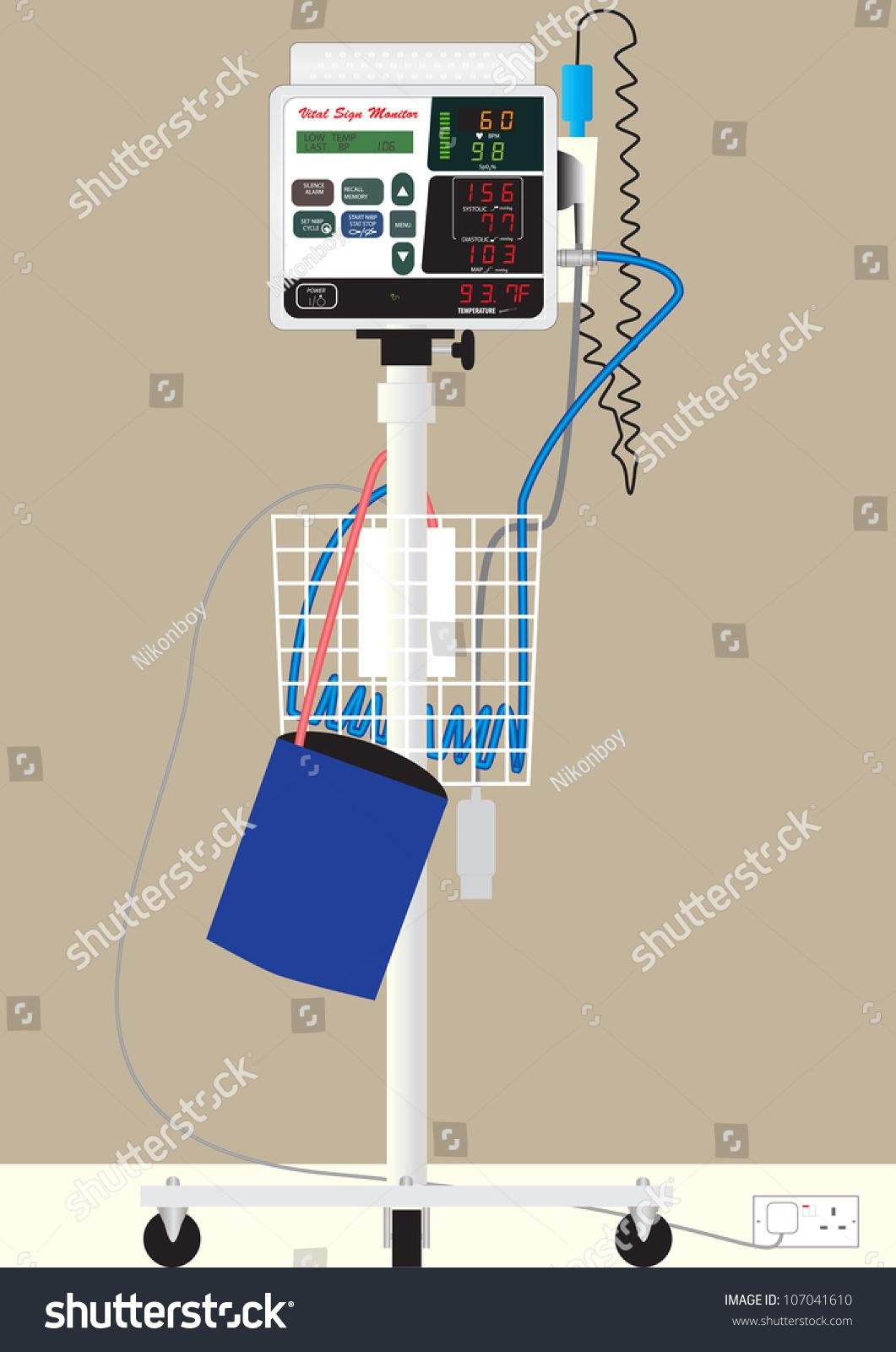 Hospital Vital Sign Monitor On Trolley Stock Vector