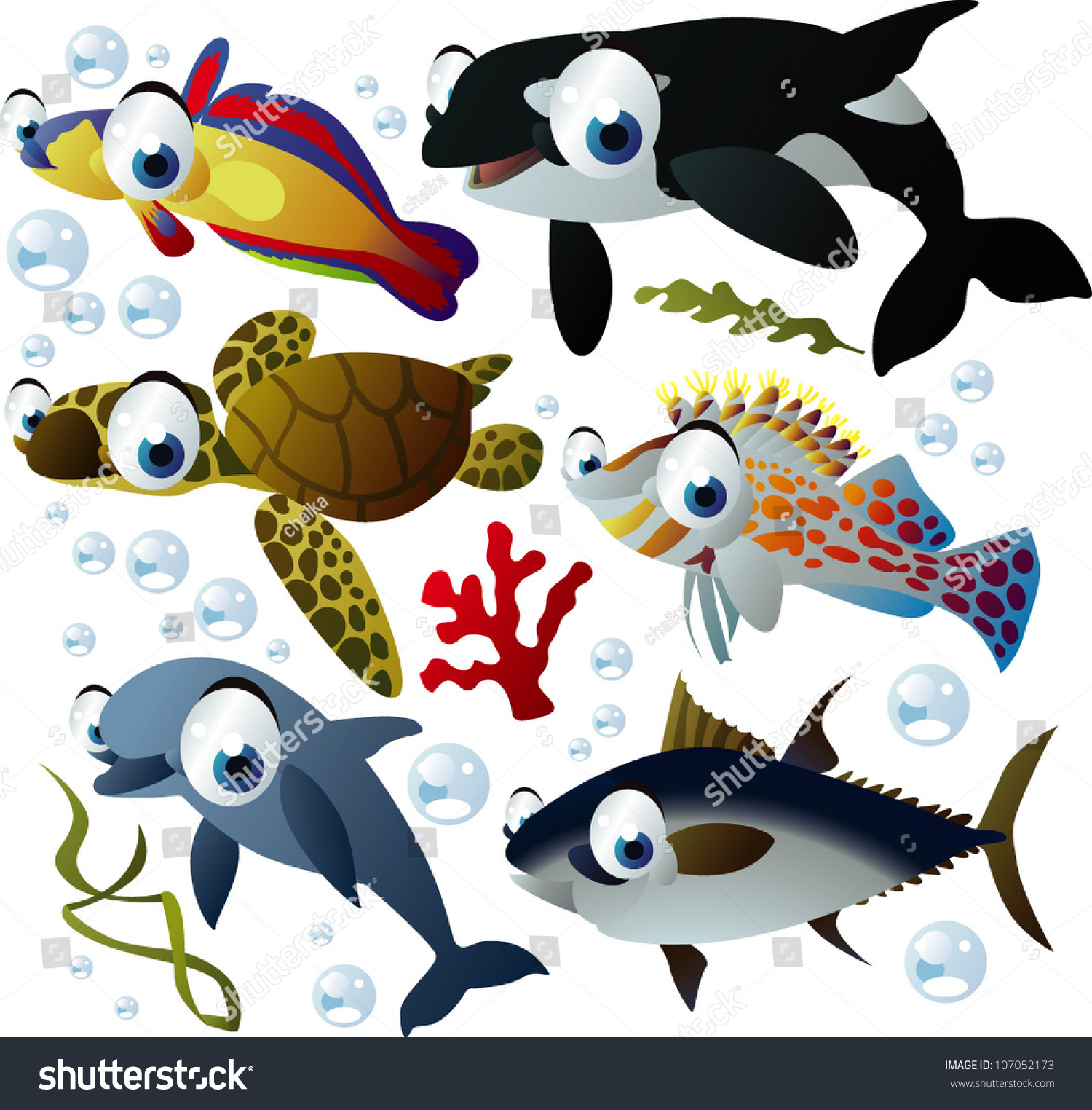 The coral reef frame border illustration for the children stock - Sea Life Animals Stock Vector Illustration 107052173