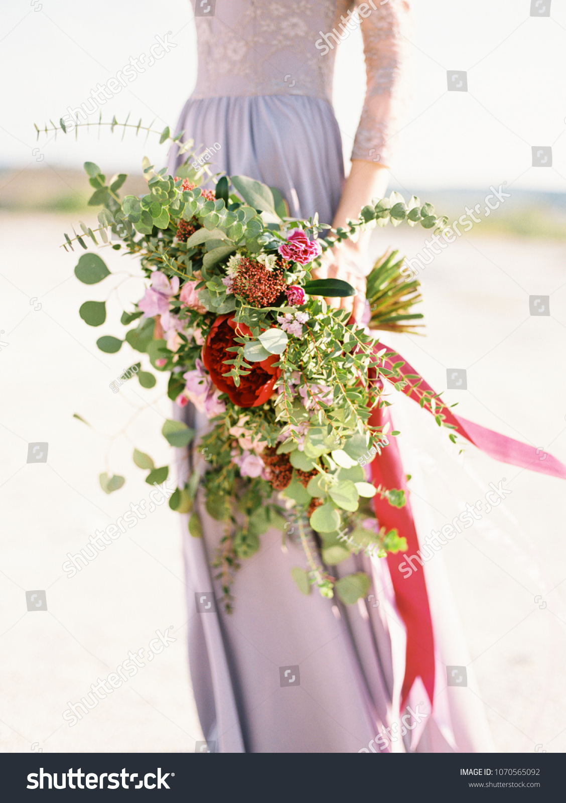 Large Modern Purple Bridal Bouquet Close Stock Image Download Now