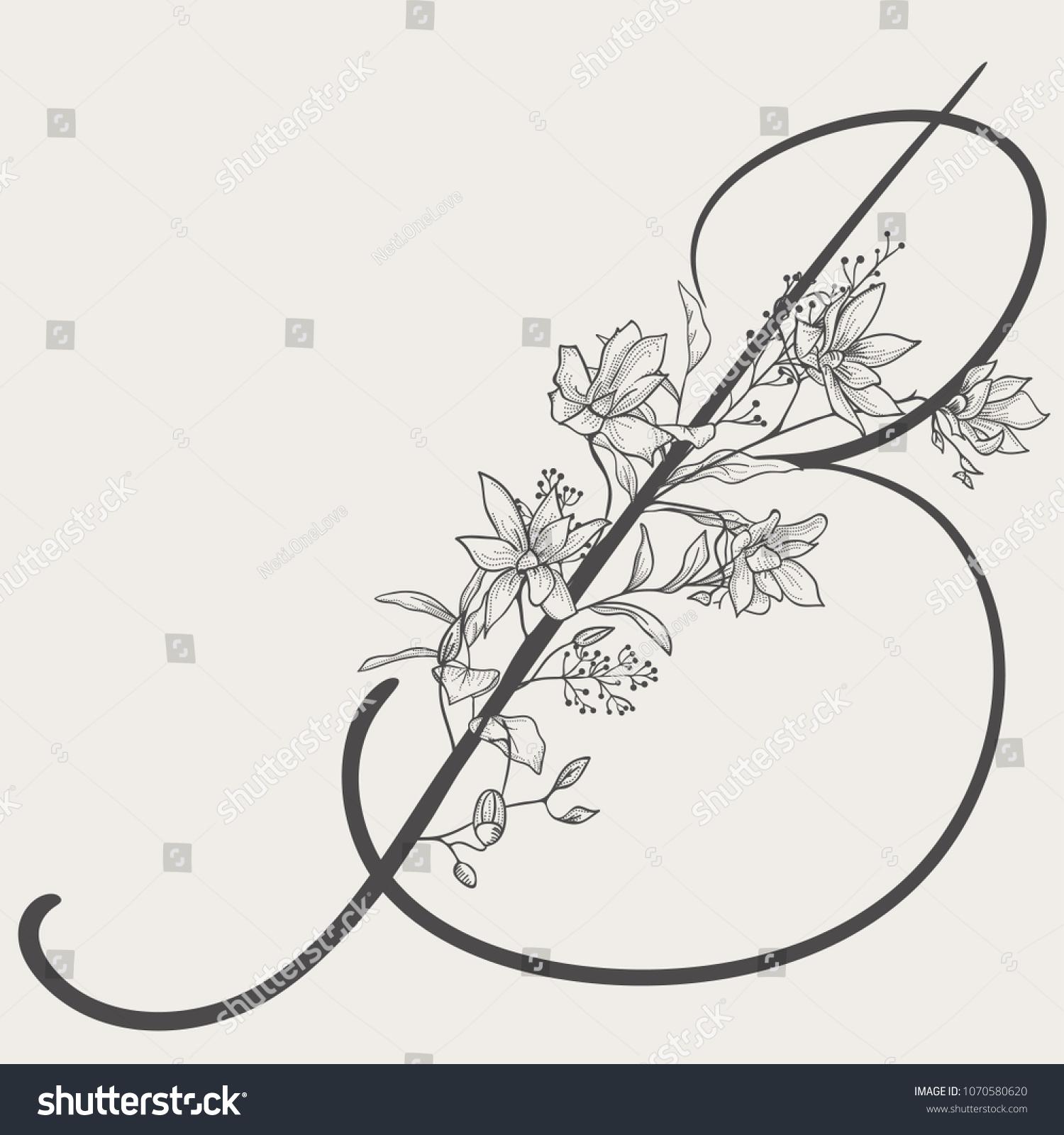 Vector Hand Drawn Flowered B Monogram Or Logo Uppercase Letter