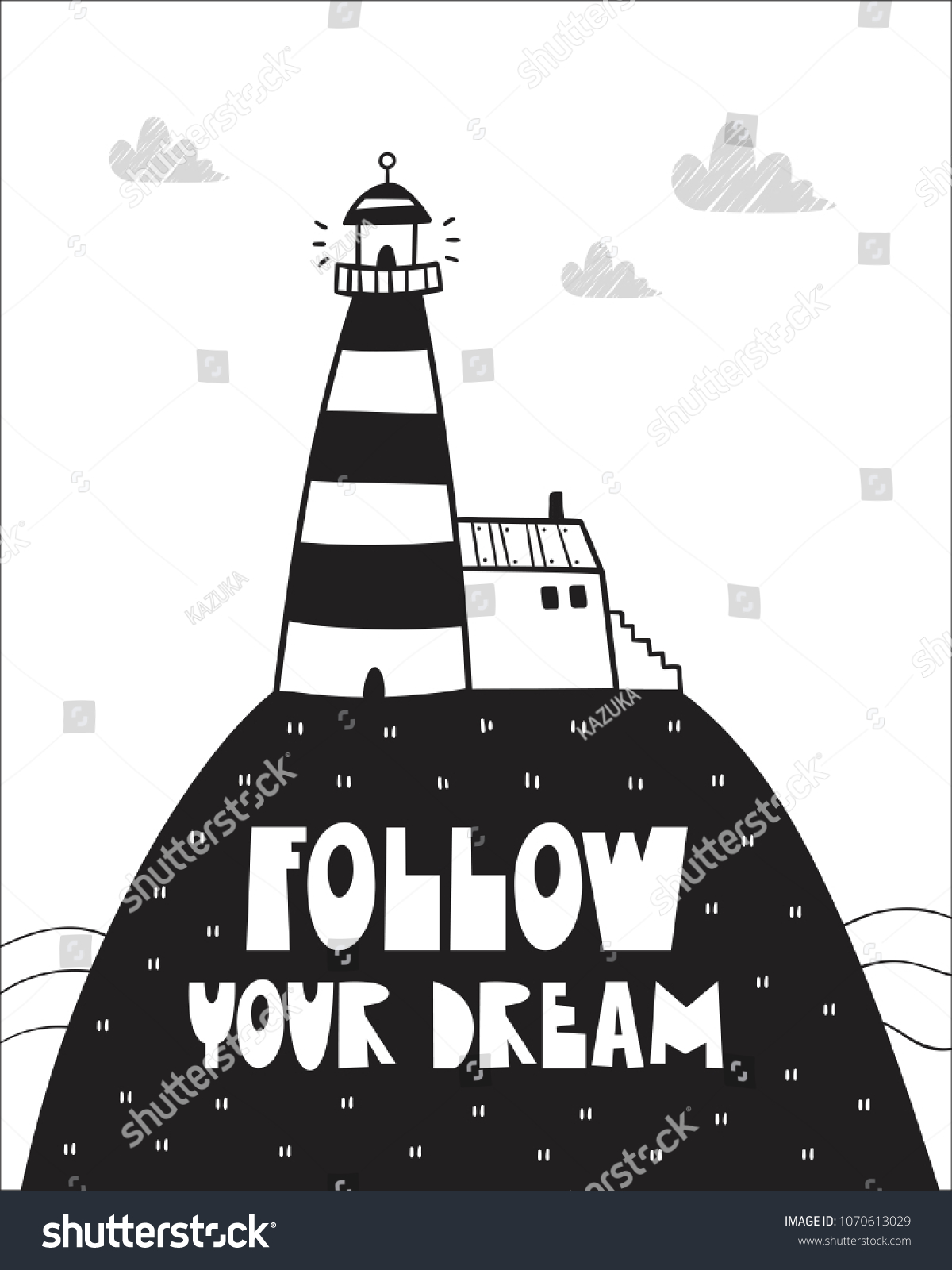 Cute Lighthouse Poster Baby Room Greeting Stock Vector Royalty Free