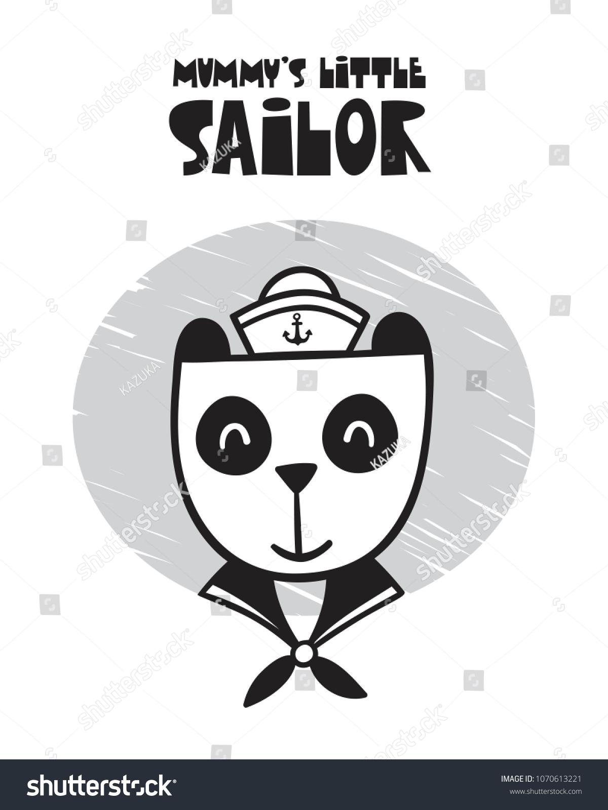 Cute Panda Poster Baby Room Greeting Stock Vector Royalty Free