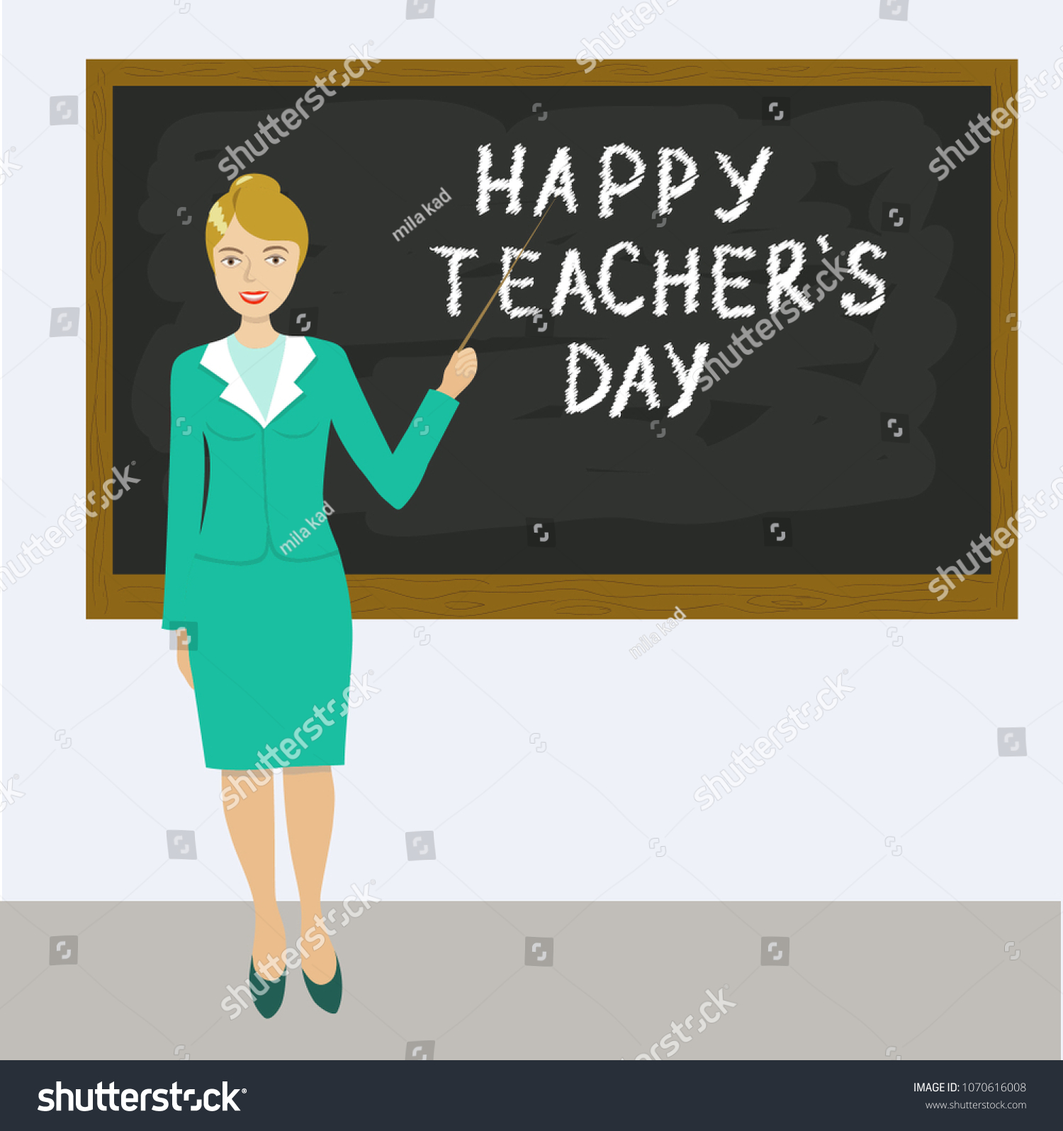 Vector Illustration Teachers Day Teacherchalkboard Greeting Stock