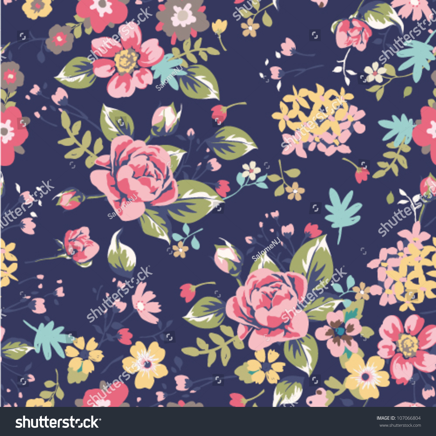 Seamless Summer Floral Pattern On Navy Stock Vector Royalty Free