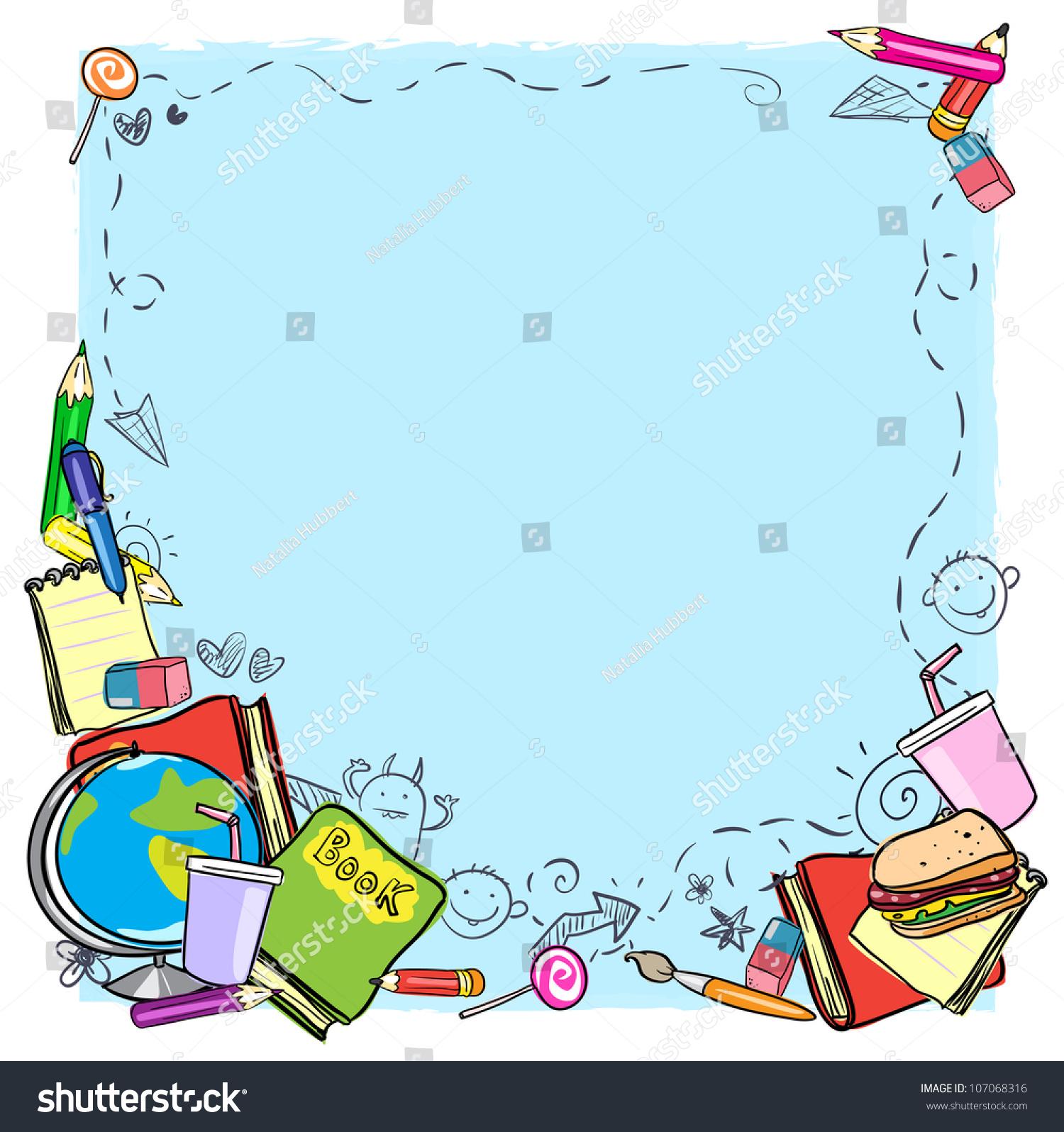 School Border Frame Space Text Back Stock Vector 107068316 ...