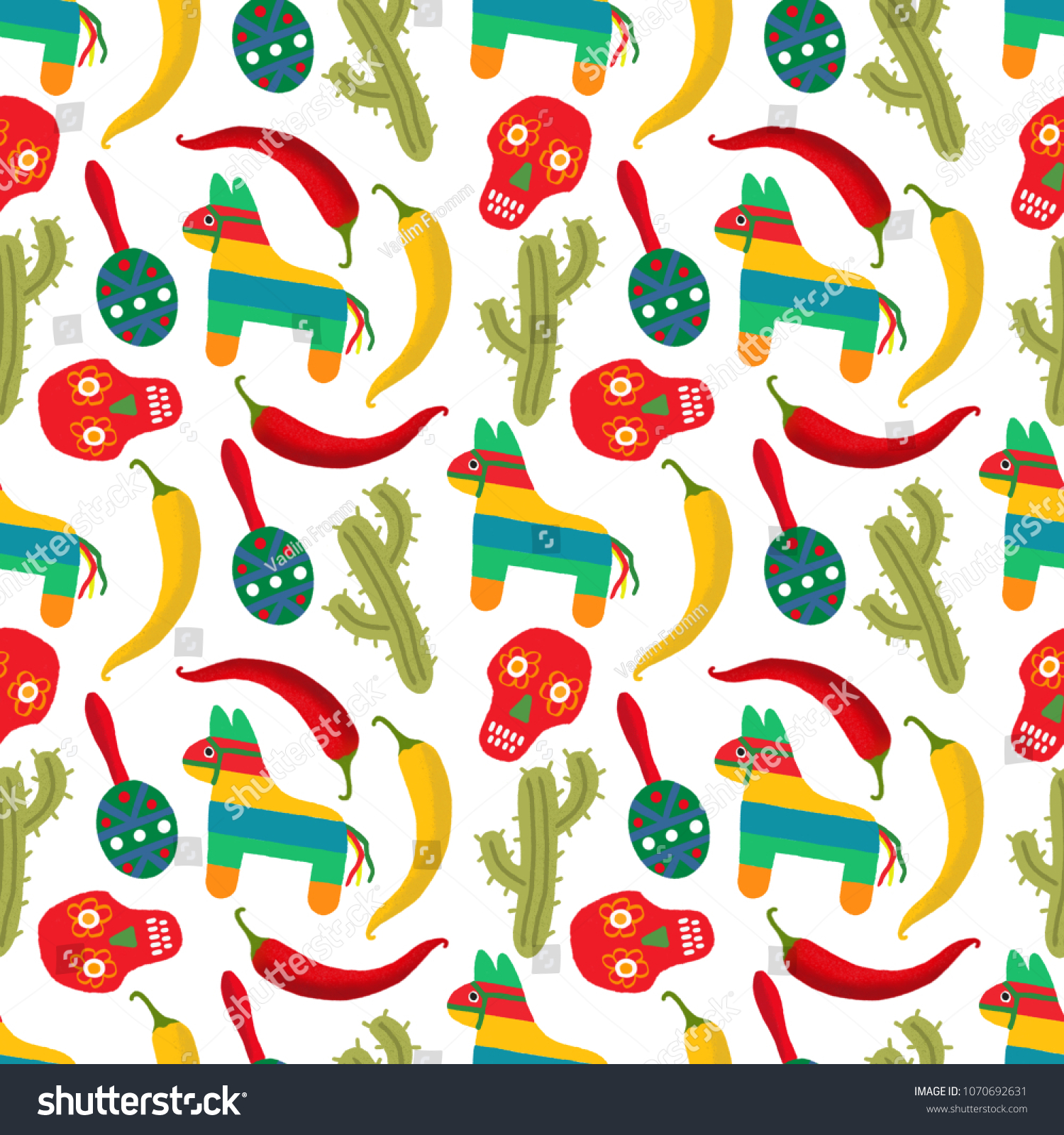 Pattern Made Of Traditional Cinco De Mayo Symbols Mexican Fiesta Party Invitation
