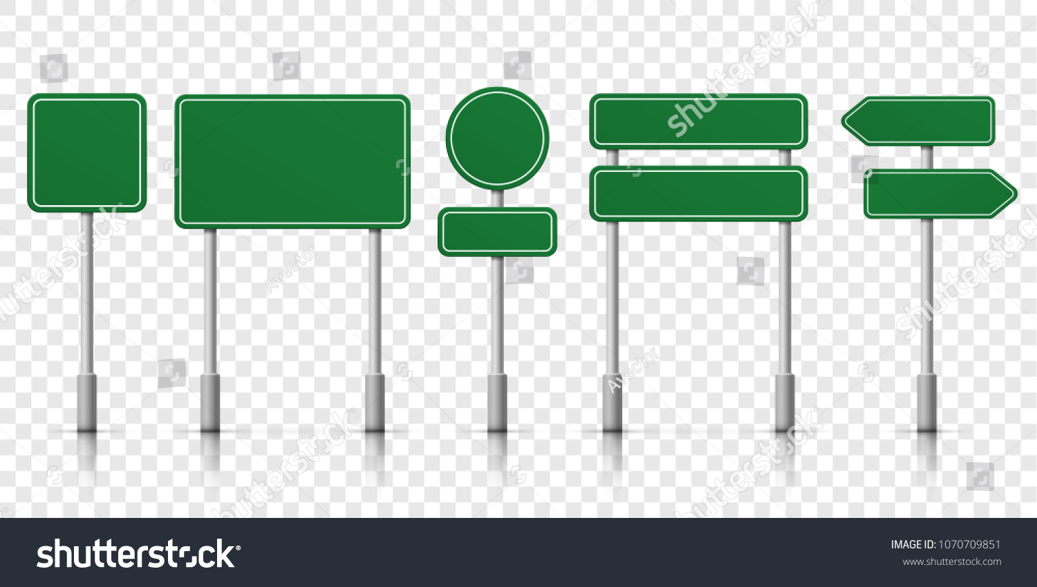 Road signs blank icons. Vector green plate road signs templates for direction #1070709851