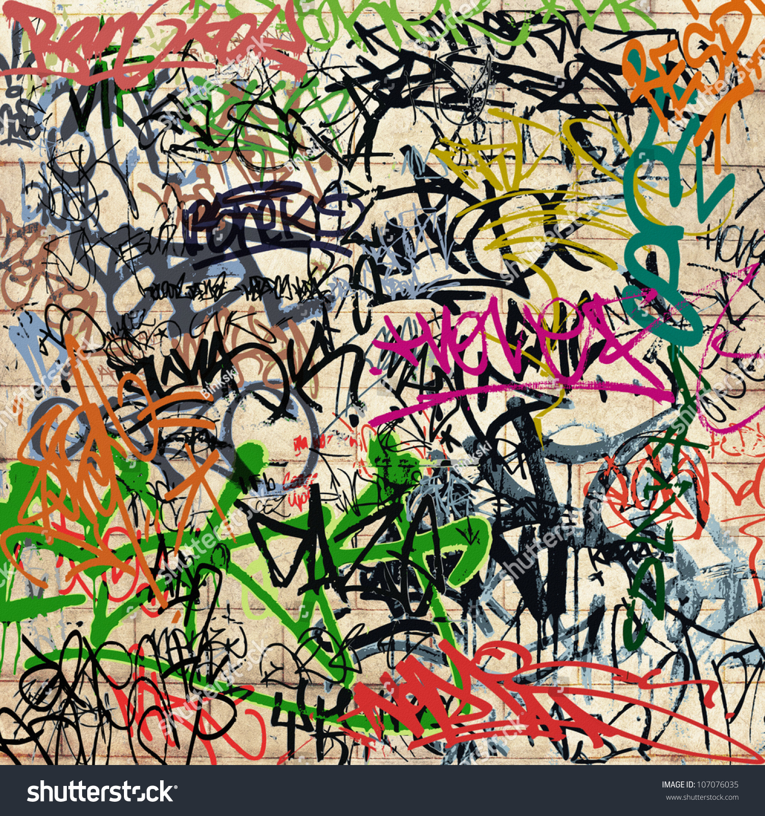 A wall with lots of graffiti stock photo 107076035 for Lots of pictures on wall