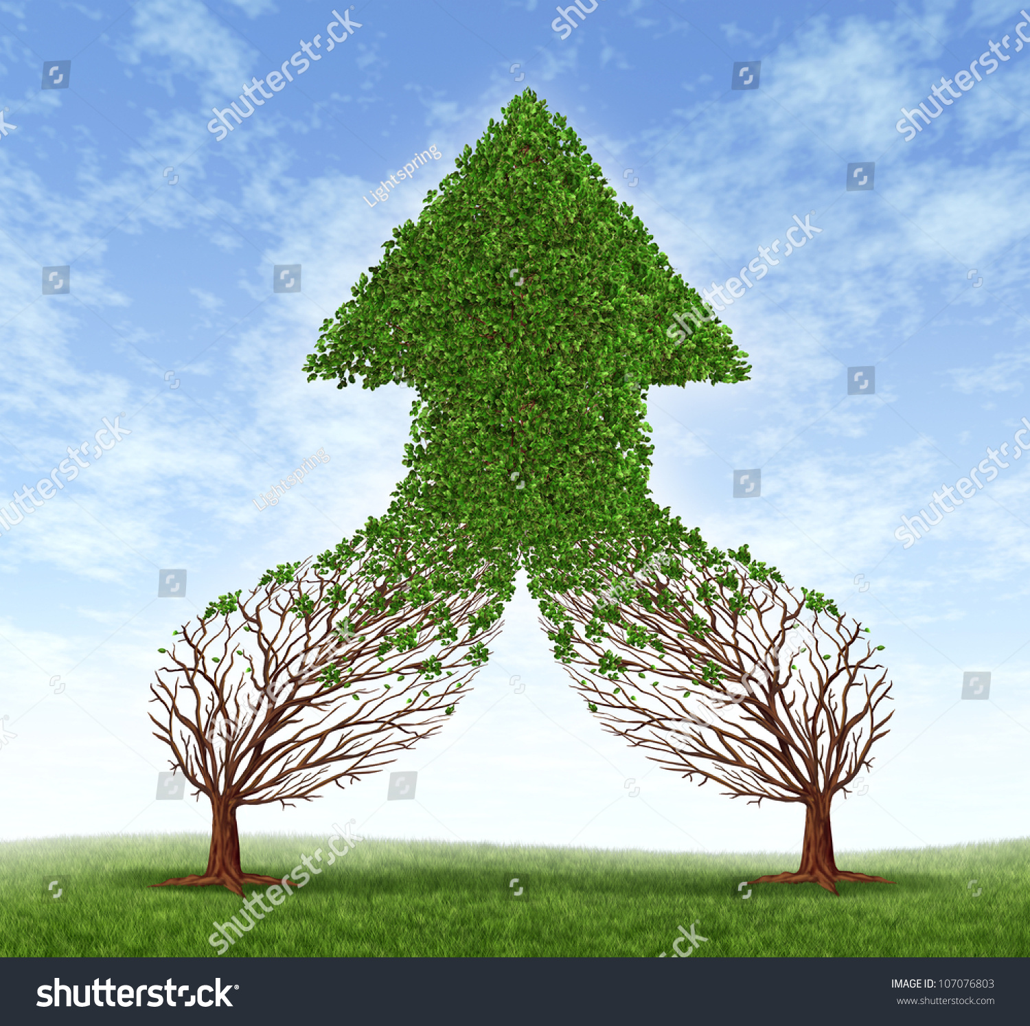 Finance Tree: Working Together Business Symbol Financial Merger Stock