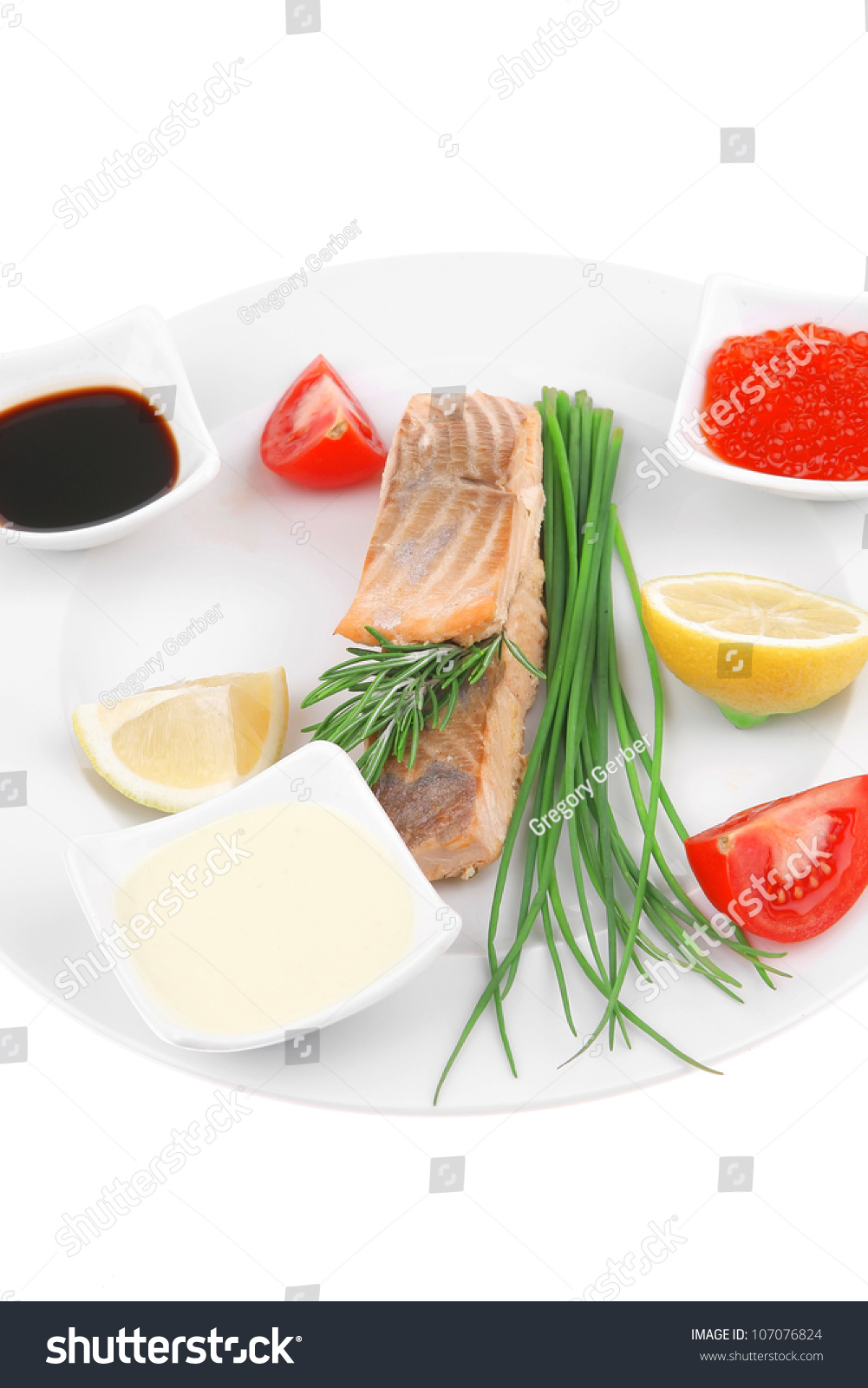 Healthy fish cuisine grilled pink salmon stock photo for Healthy white fish