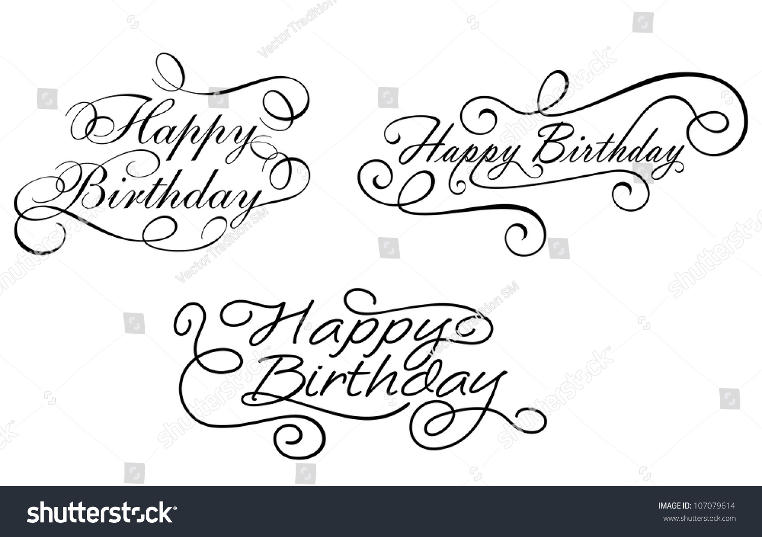 Happy birthday sign in elegant black script type with ornament - Happy Birthday Calligraphic Embellishments Set For Holiday Design Jpeg Version Also Available In Gallery
