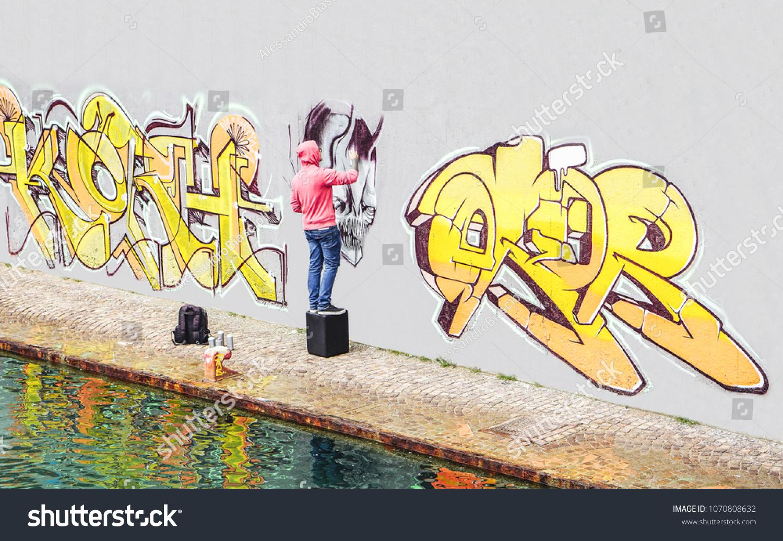 Street Graffiti Artist Painting Color Spray Stock Photo (Royalty ...