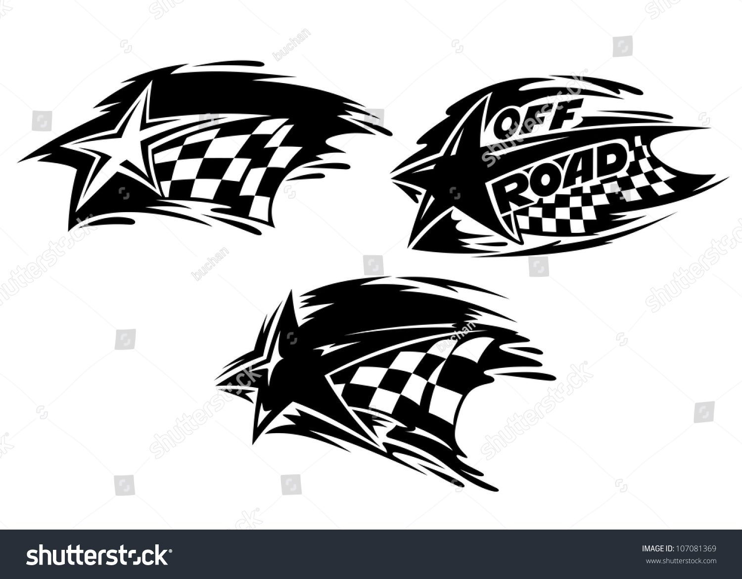 Racing stars tattoos vector illustration 107081369
