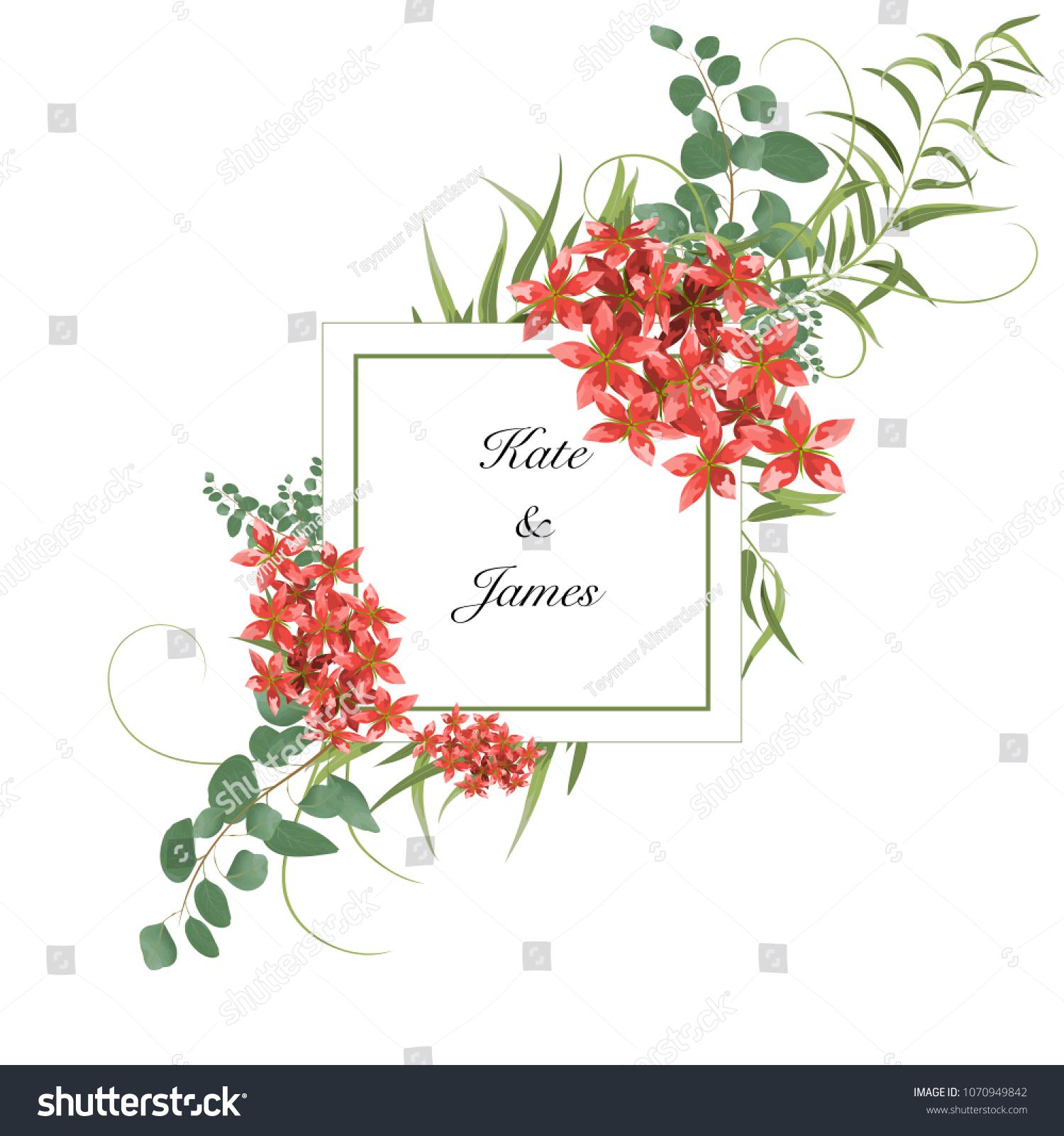 Floral Art Wedding Invitation Card Design Stock Vector 1070949842 ...