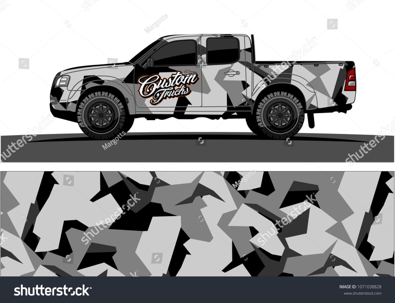 Modern camouflage design for truck graphics vinyl wrap