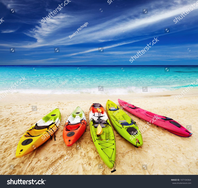 Colorful Kayaks On Tropical Beach Thailand Stock Photo