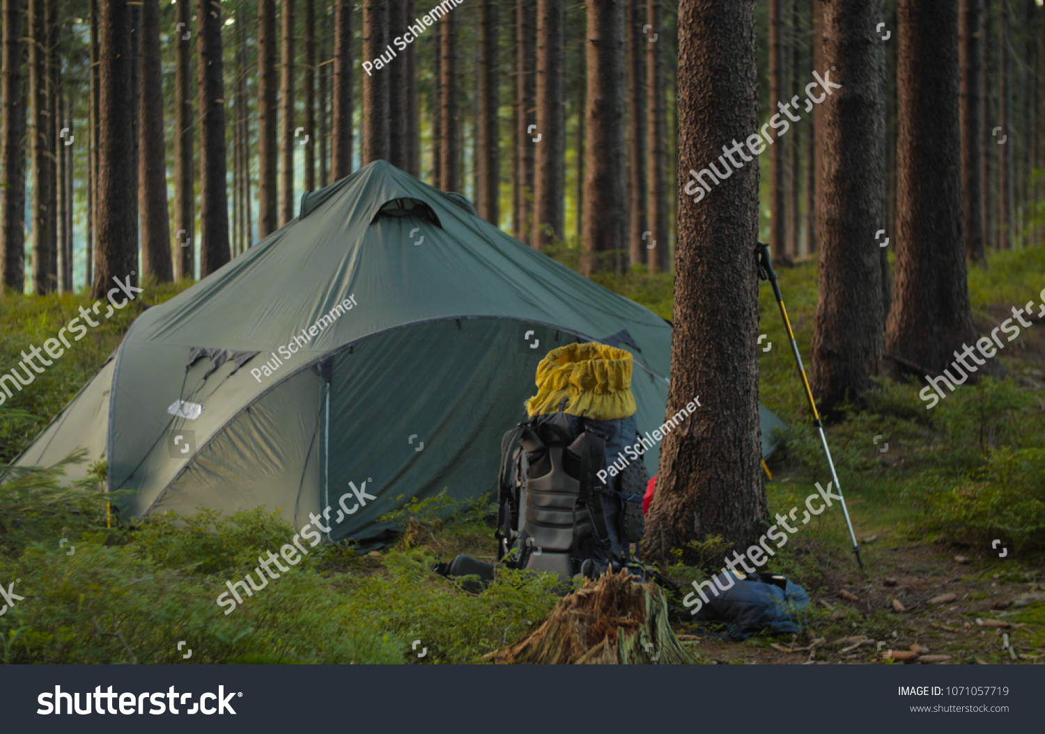 view of a backpack and tent pitched in forest c&ing & View Backpack Tent Pitched Forest Camping Stock Photo (Edit Now ...