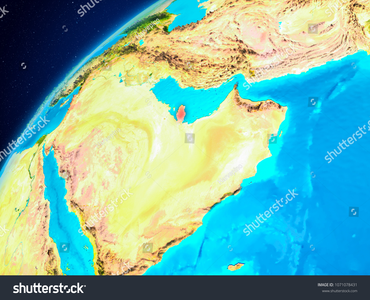 Orbit View Qatar Highlighted Red On Stock Illustration 1071078431