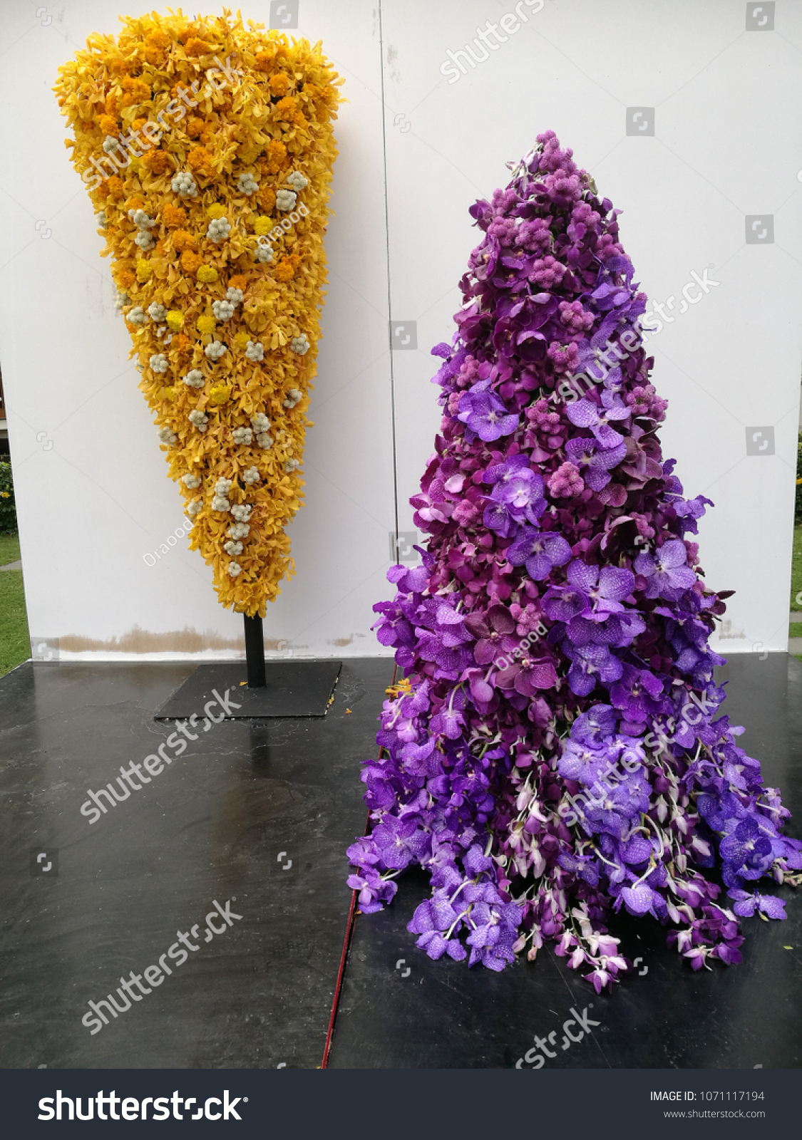 Purple Yellow Flowers Arrangement On Outdoor Stock Photo Royalty