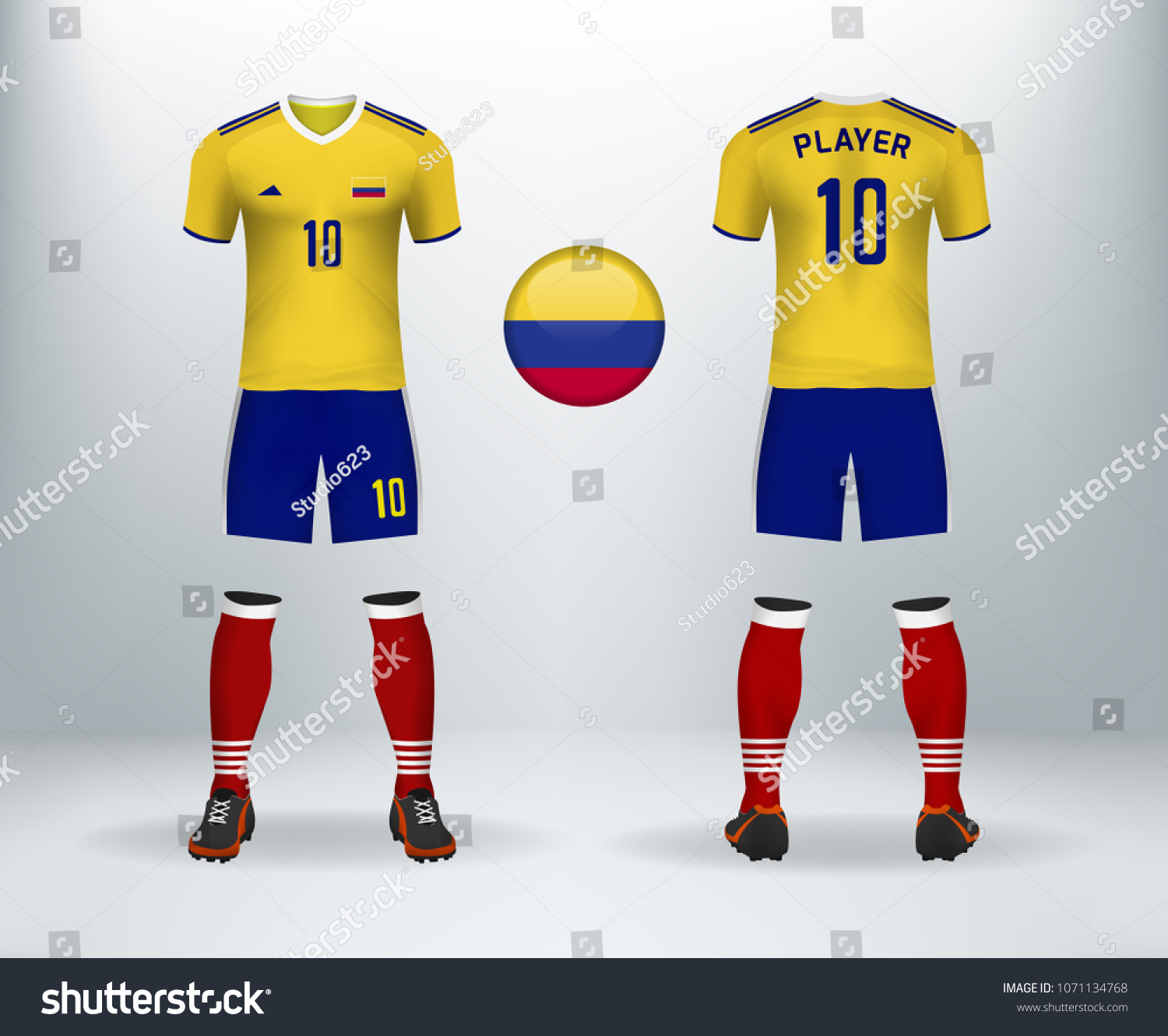 3D realistic of font and back of Colombia soccer jersey shirt with pants  and Colombian badge d2084bae0