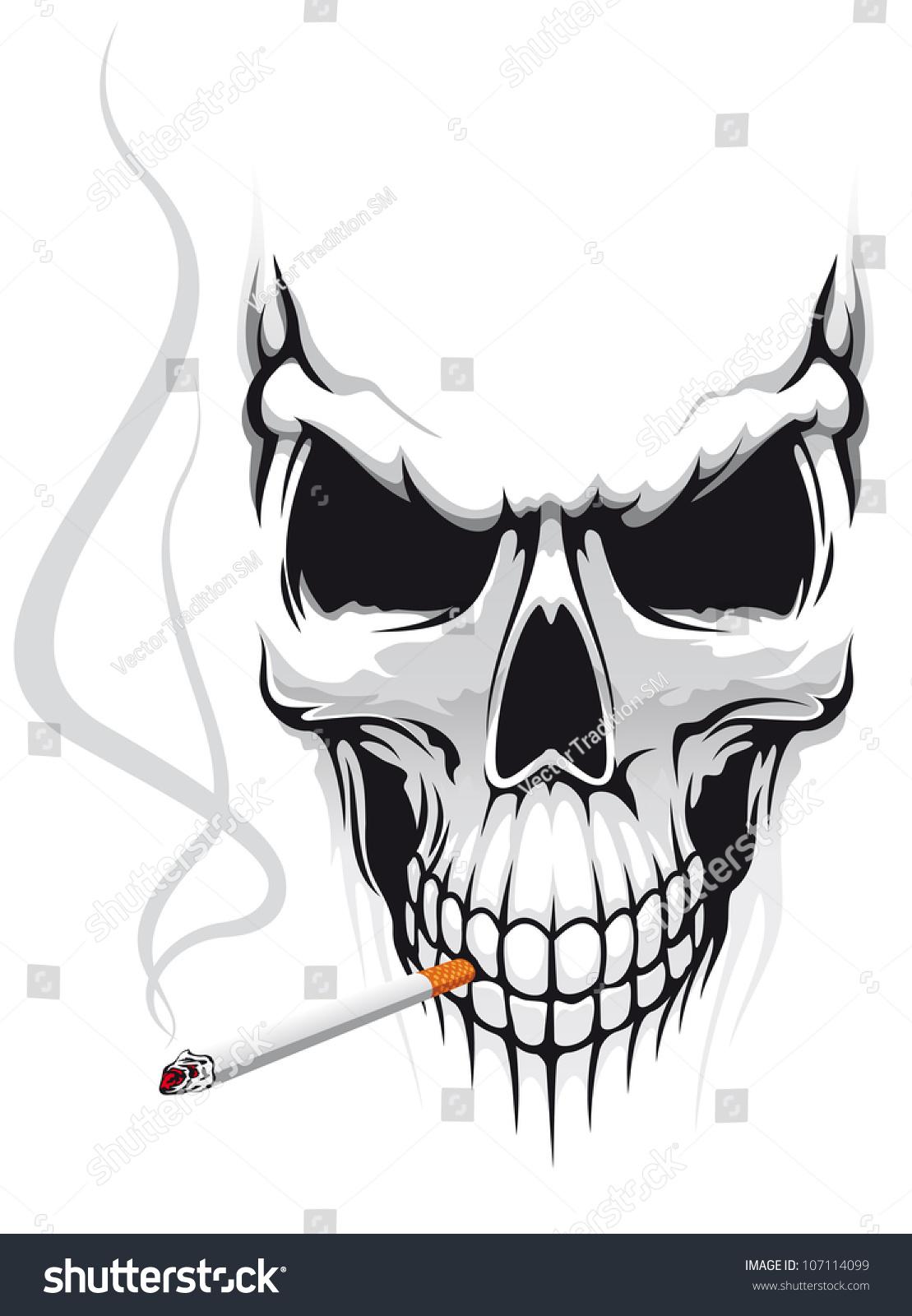 Danger Skull Smoke Cigarette Tshirt Design Stock Illustration