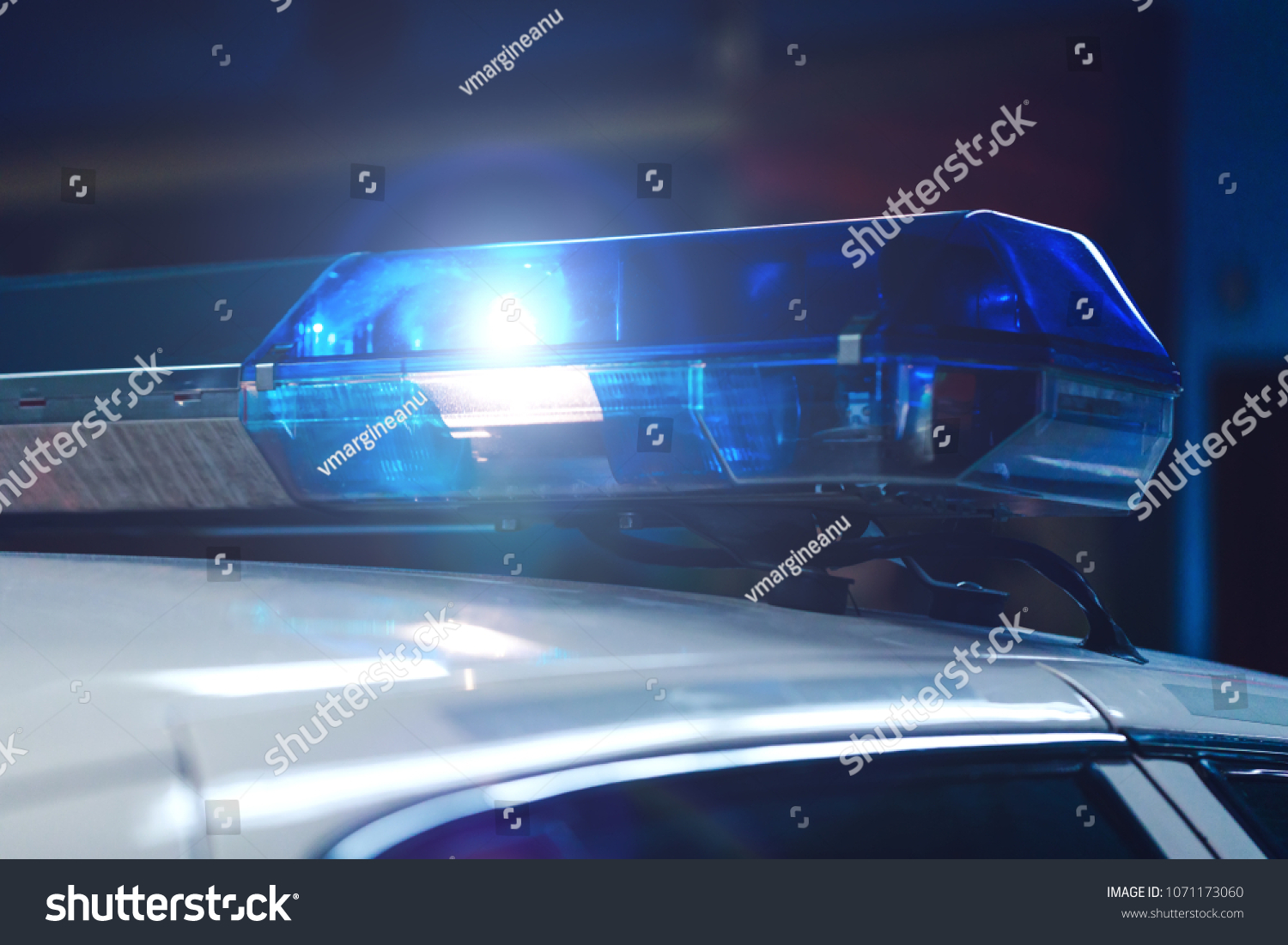 Police Night Car Blue Siren Flasher Stock Photo Edit Now At In The With On Flashing