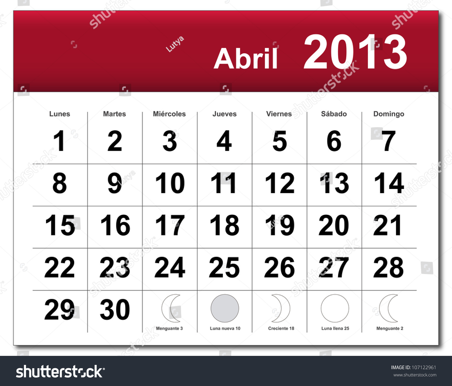 Spanish April Calendar : Spanish version april calendar calendario stock