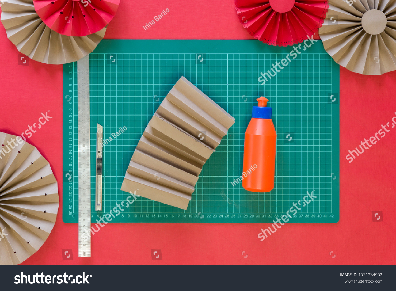 Paper Fan Tutorial Origami Flowers Simple Stock Photo Royalty Free